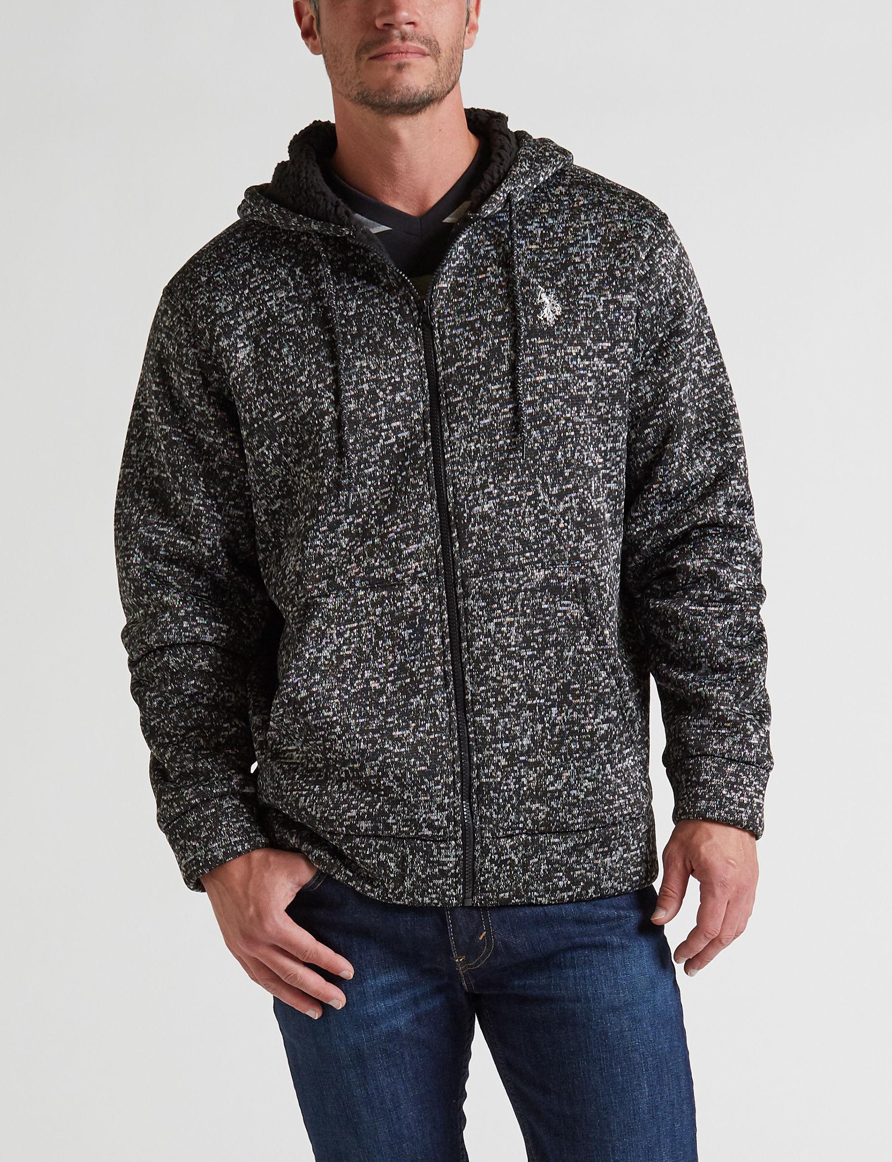 U.S. Polo Assn. Heather Black Fleece & Soft Shell Jackets