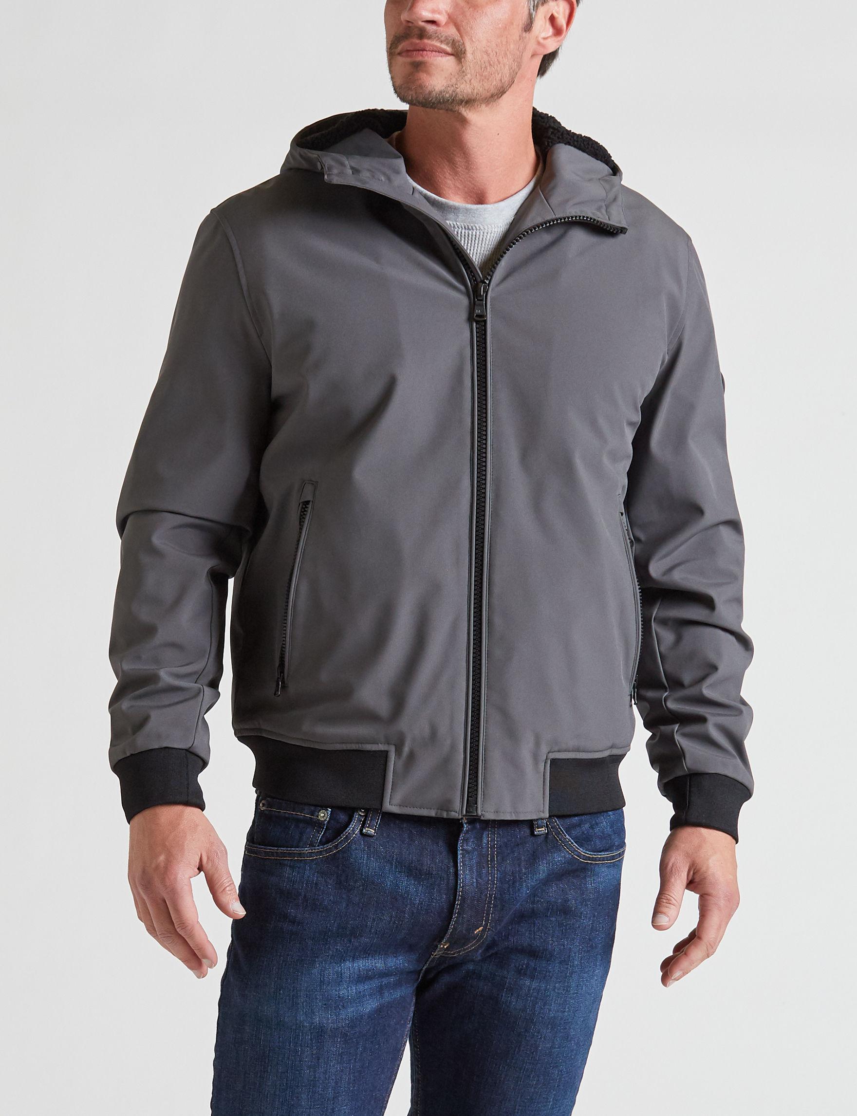 Michael Kors Dark Grey Fleece & Soft Shell Jackets