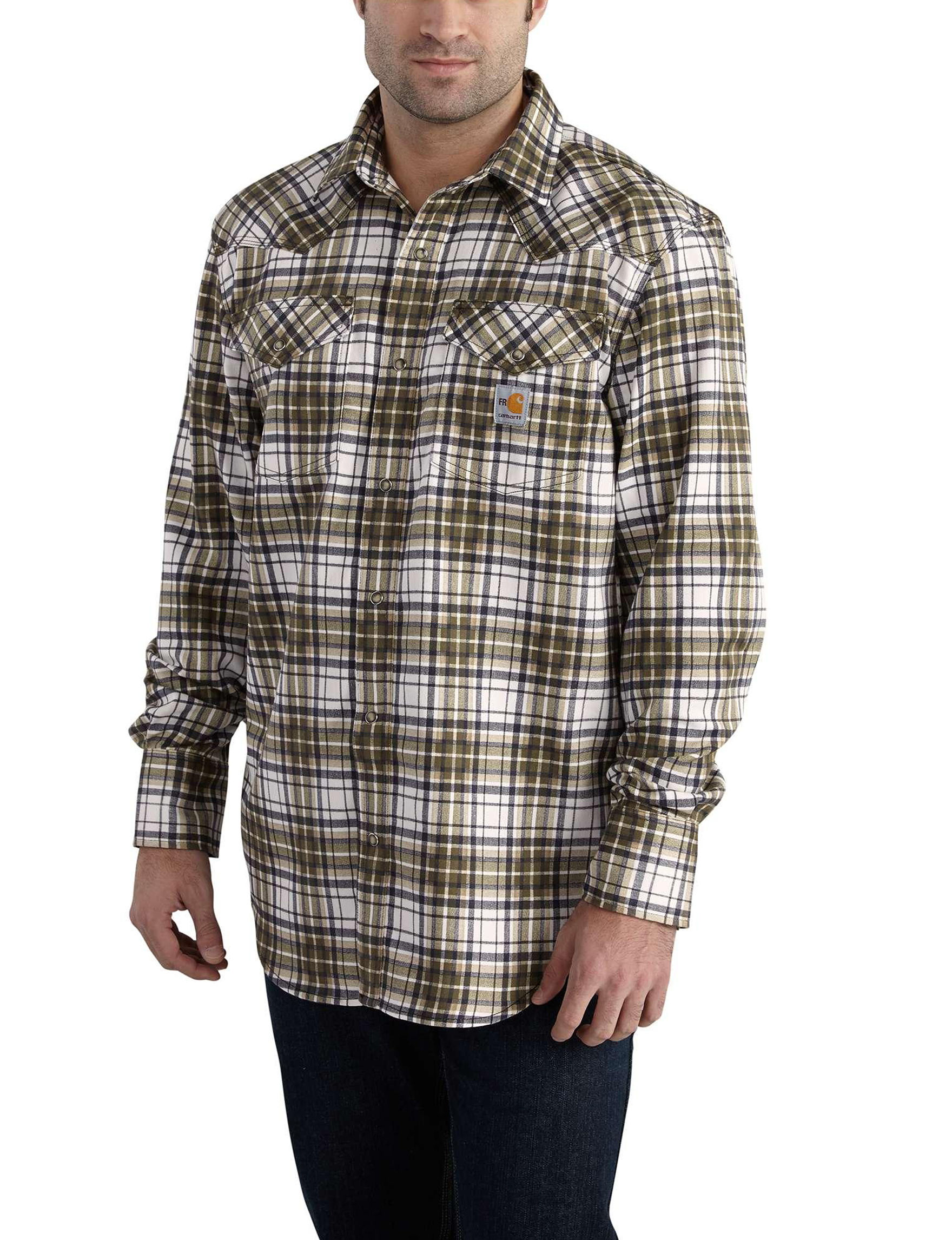 Carhartt Dark Green Casual Button Down Shirts Flame Resistant