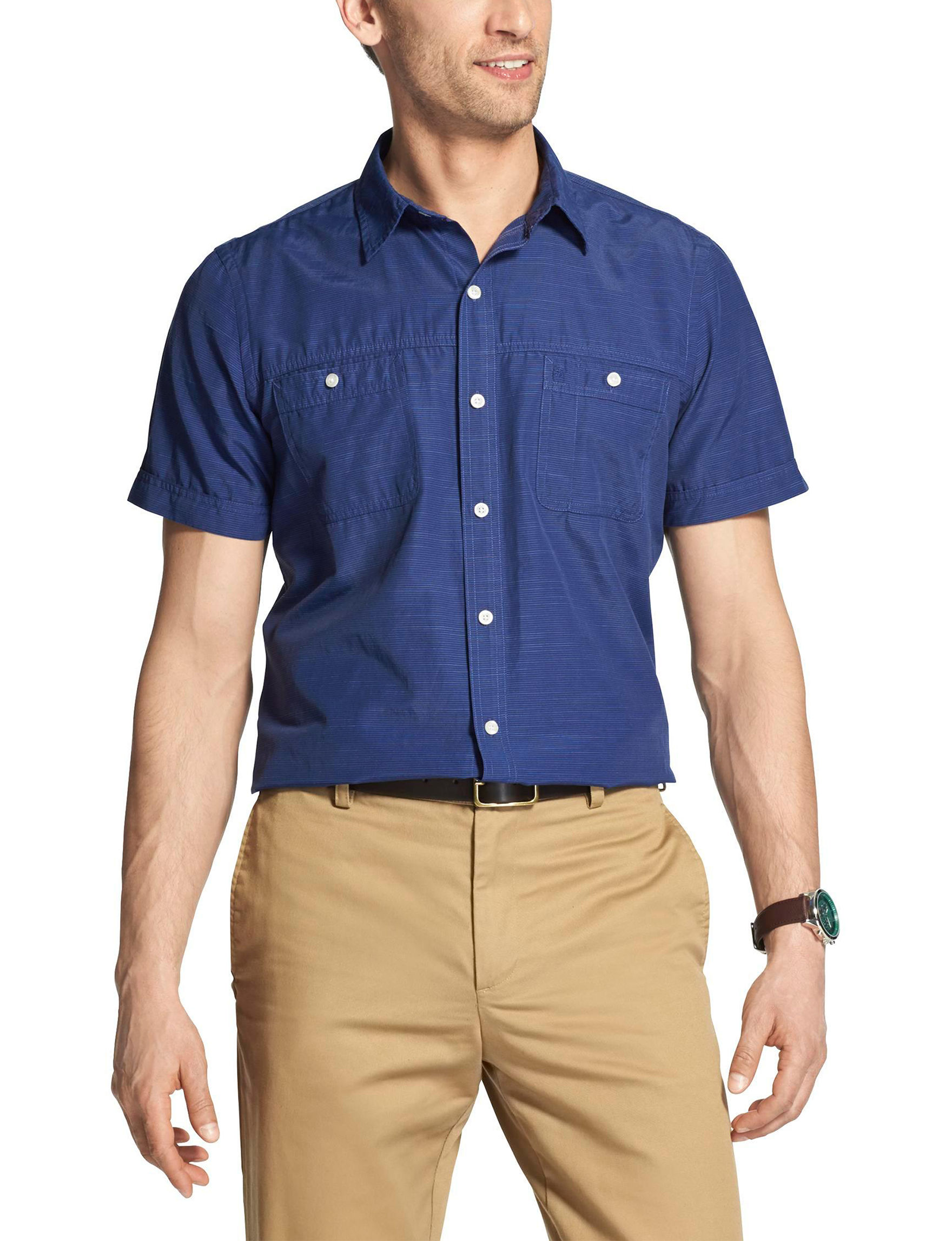 Izod Navy Casual Button Down Shirts