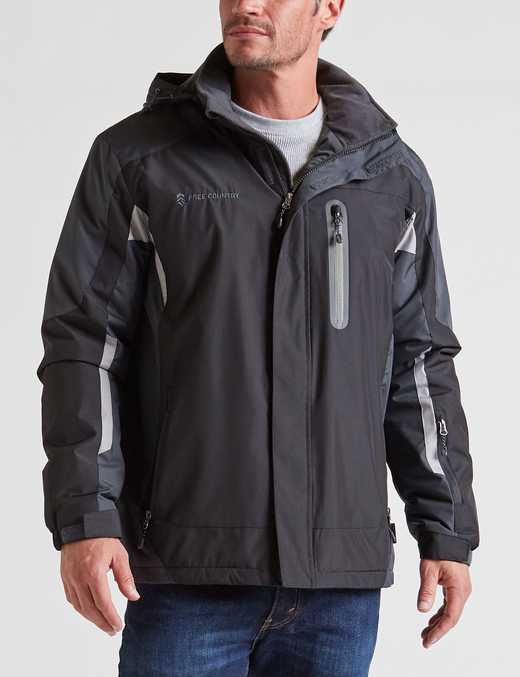 Free Country Jet Black Puffer & Quilted Jackets