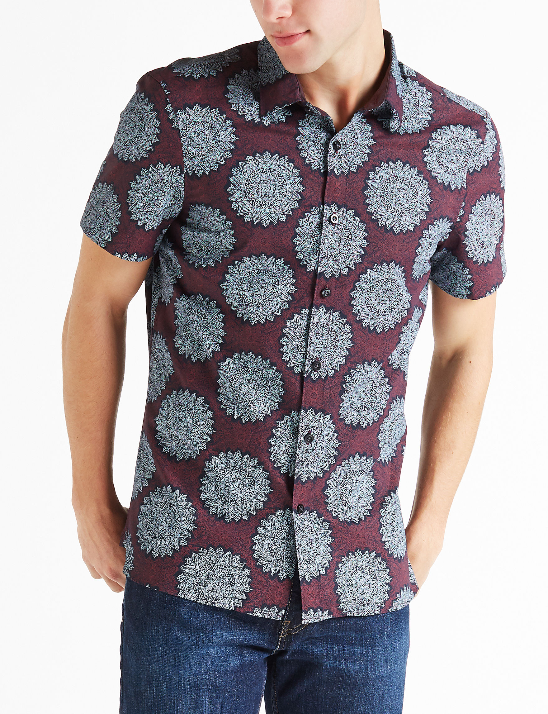 Axist Burgundy/Grey Casual Button Down Shirts