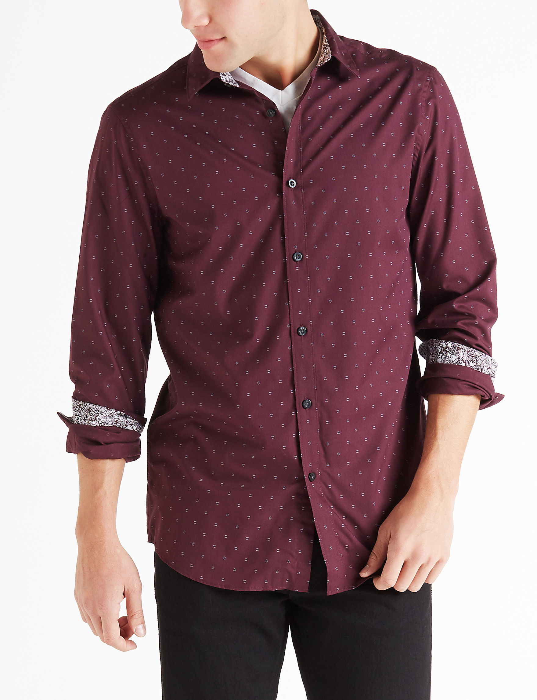 Axist Wine Casual Button Down Shirts