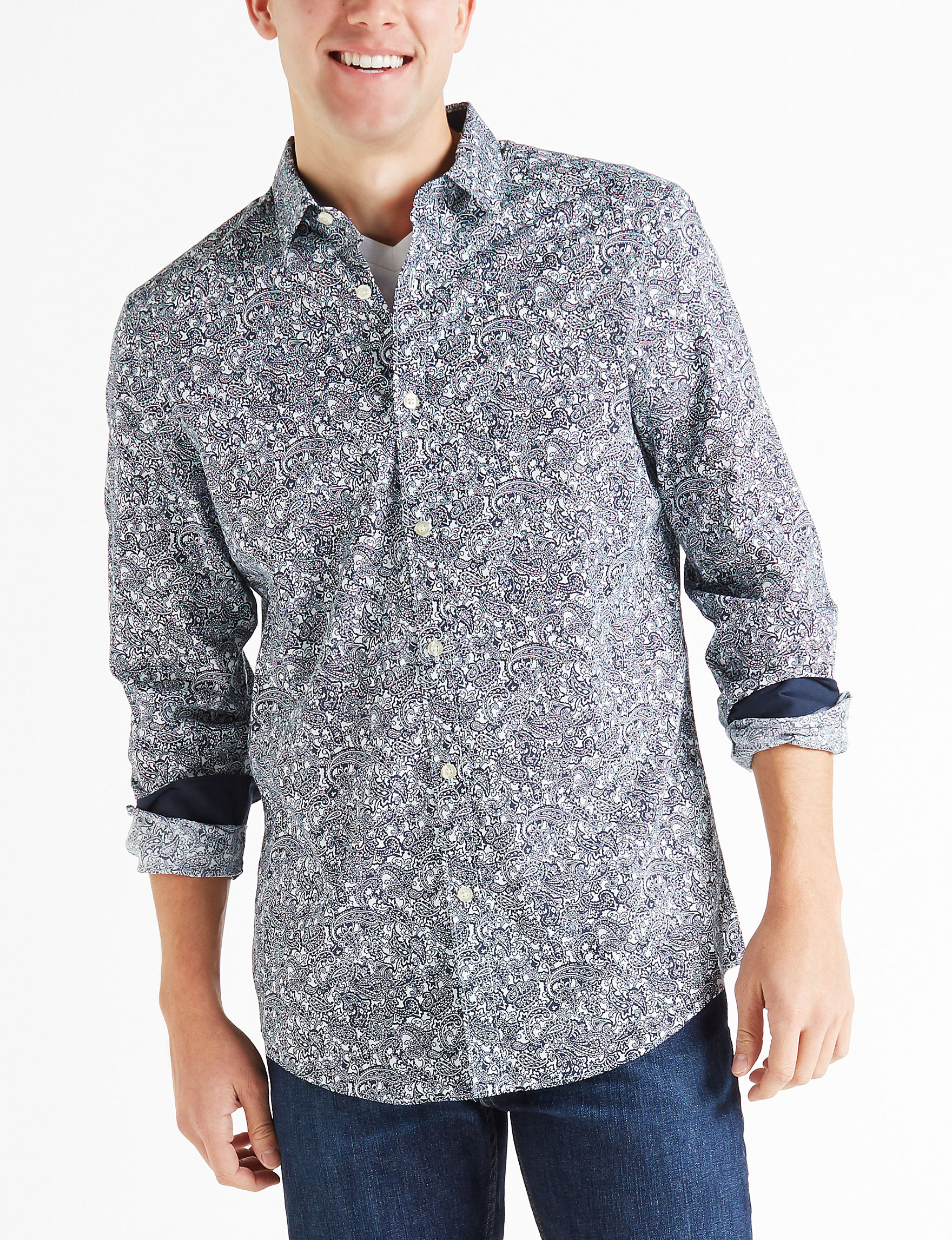 Axist Blue Paisley Casual Button Down Shirts