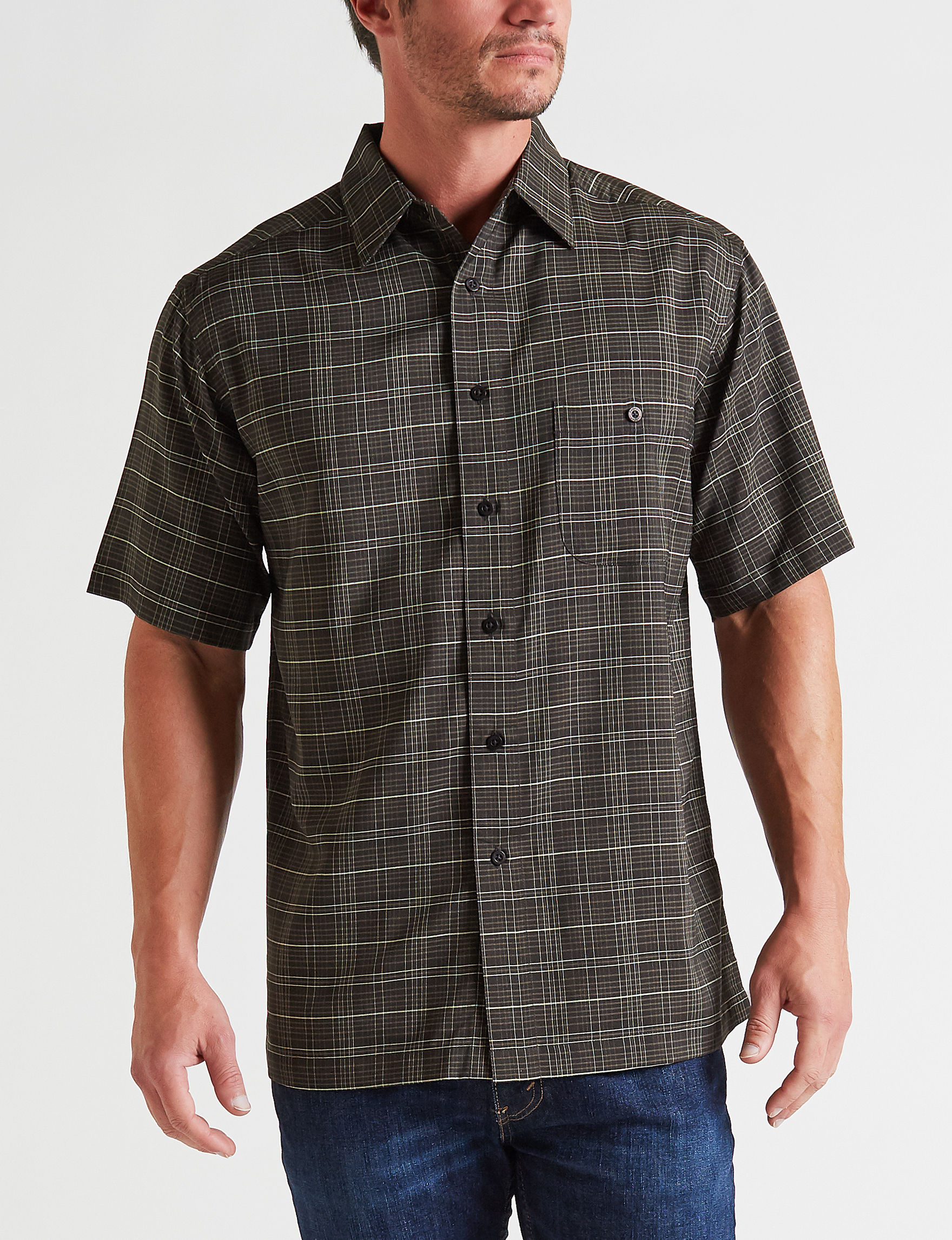 Haggar Black / White Casual Button Down Shirts