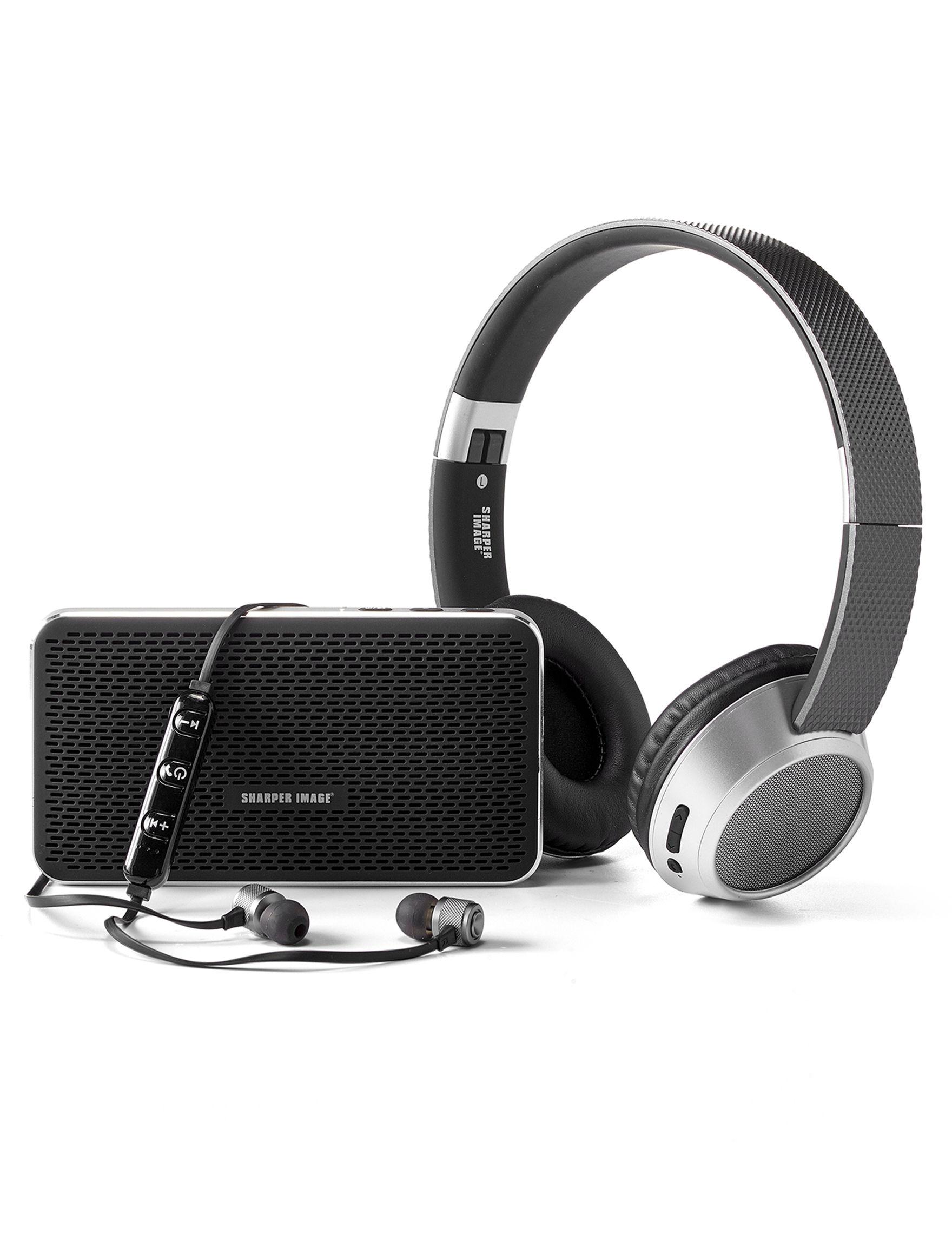 Sharper Image Black Headphones Speakers & Docks Home & Portable Audio Tech Accessories