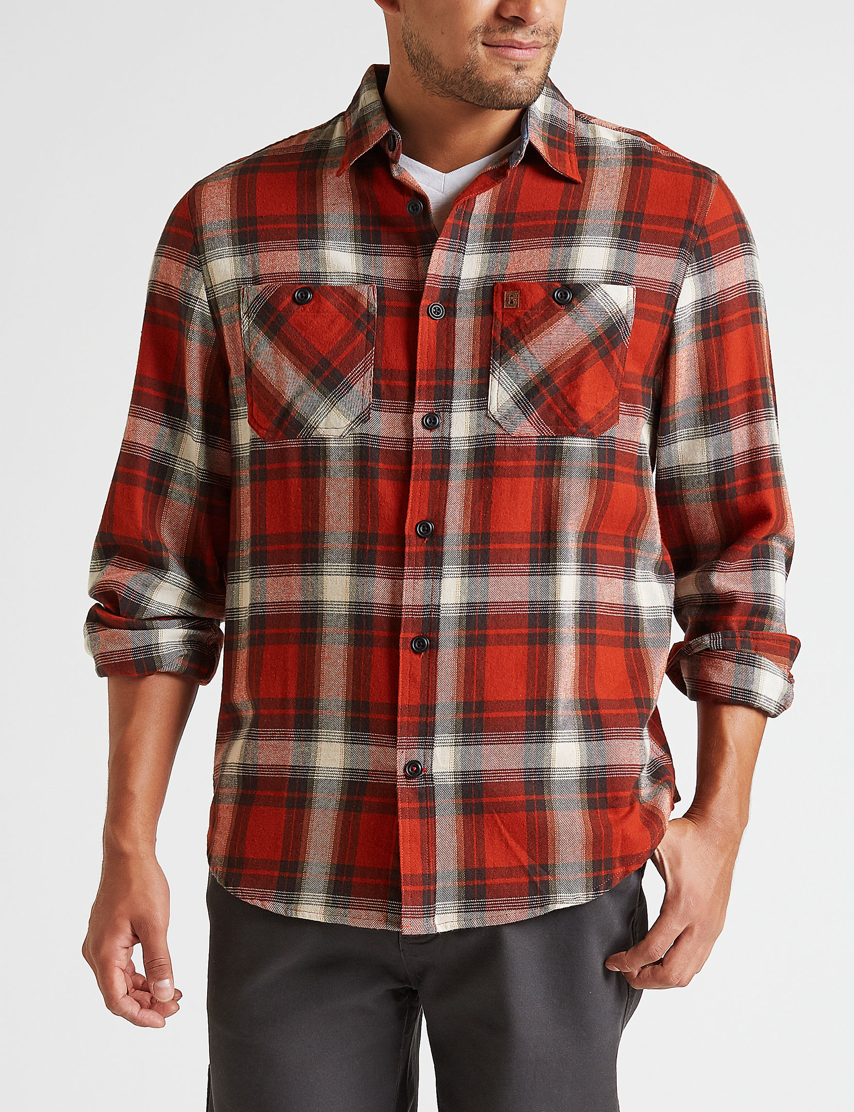 Coleman Rust Plaid Casual Button Down Shirts