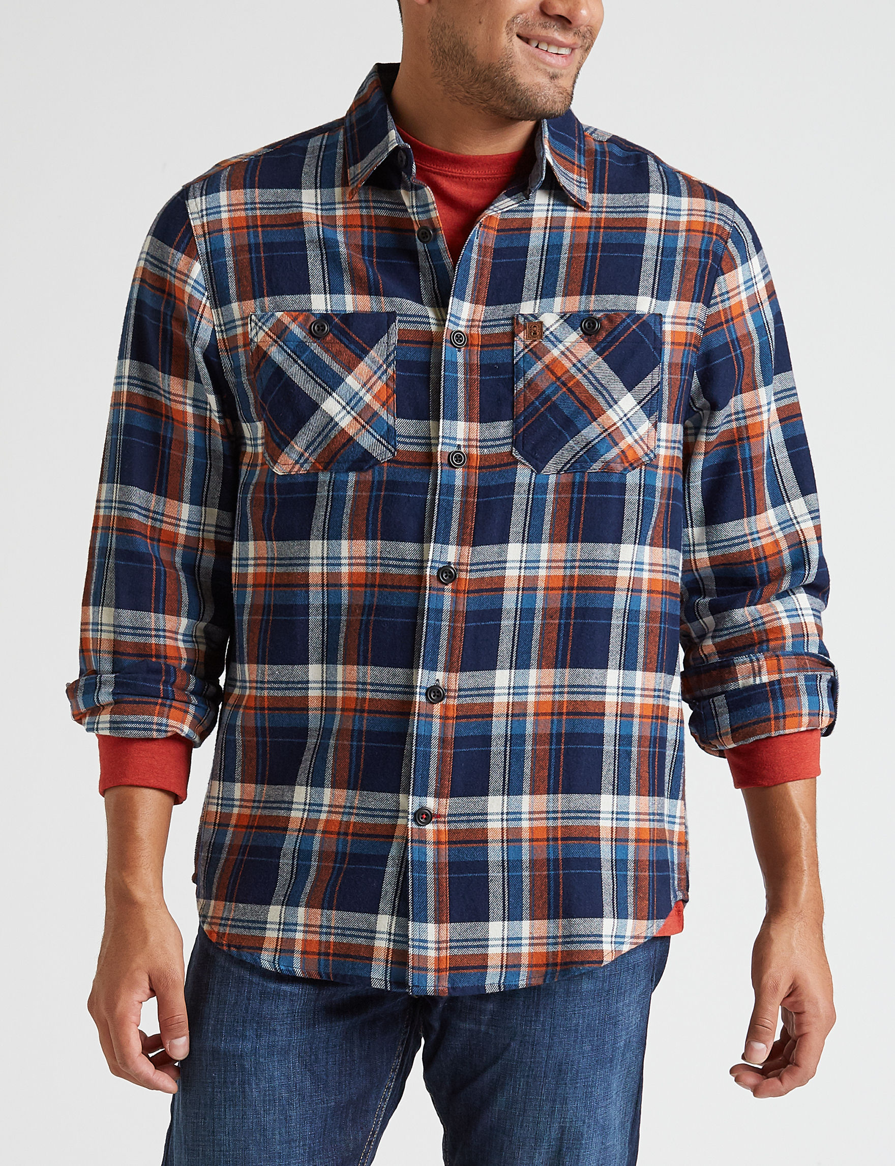 Coleman Navy Plaid Casual Button Down Shirts