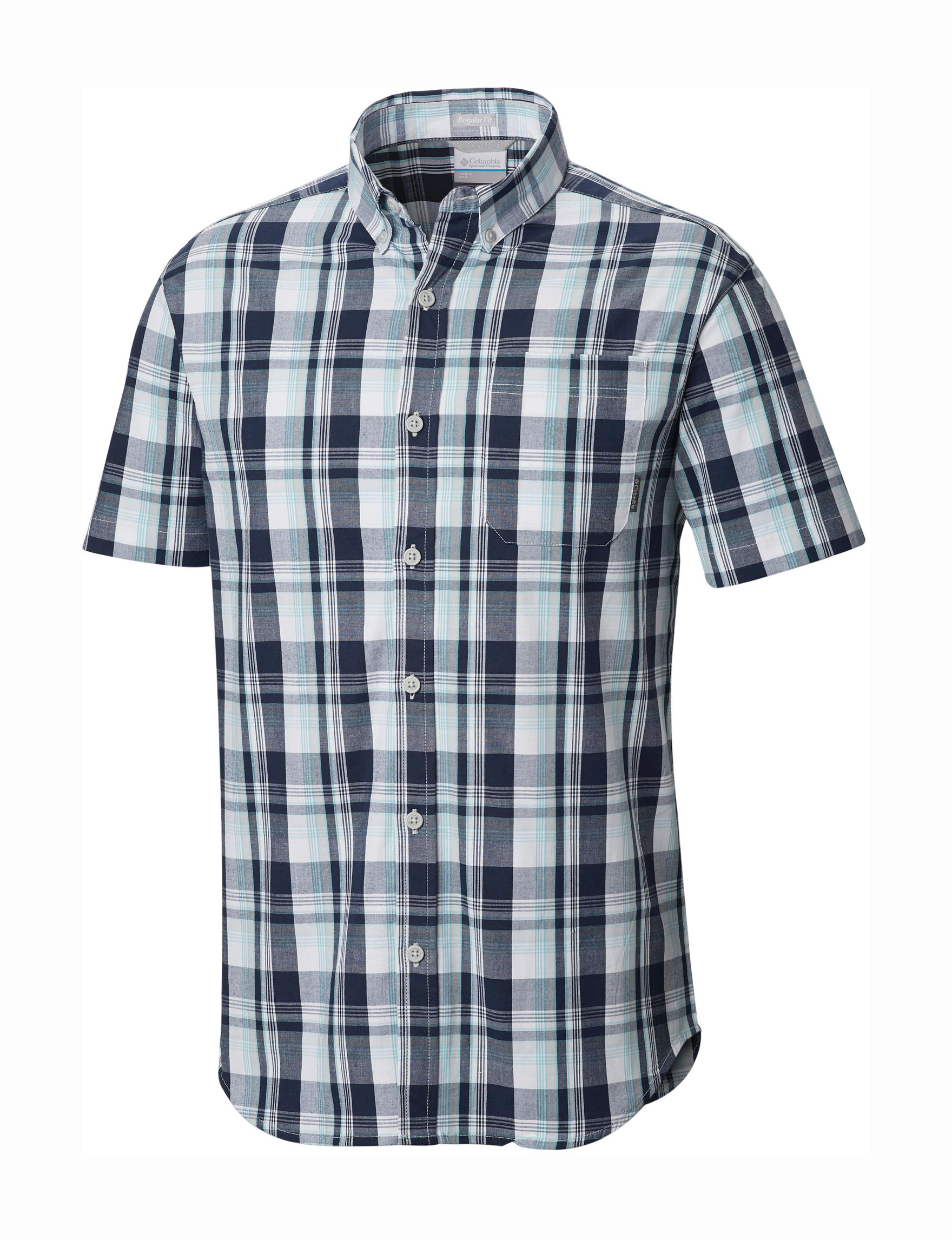 Columbia Grey Plaid Casual Button Down Shirts