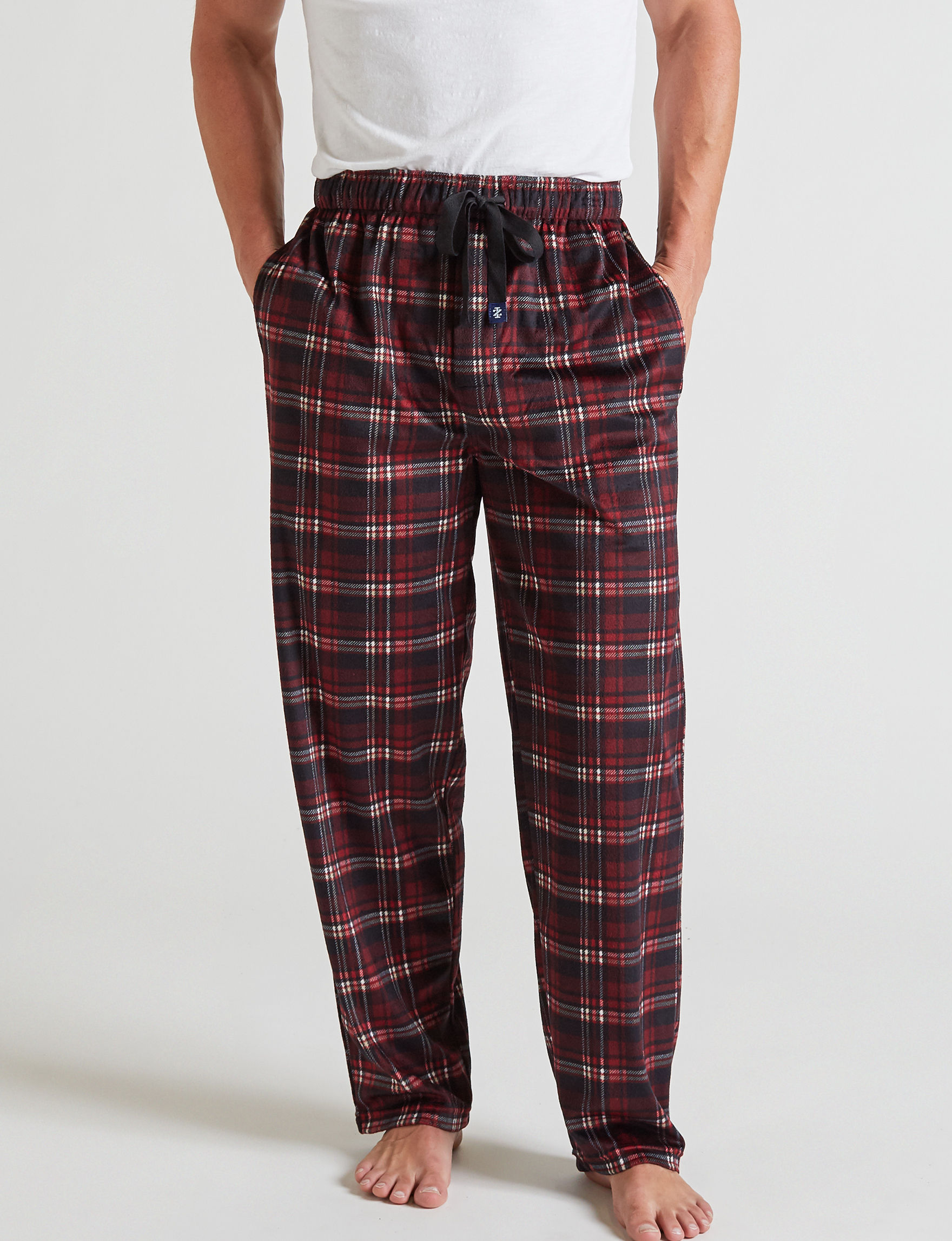 Izod Black Plaid Pajama Bottoms