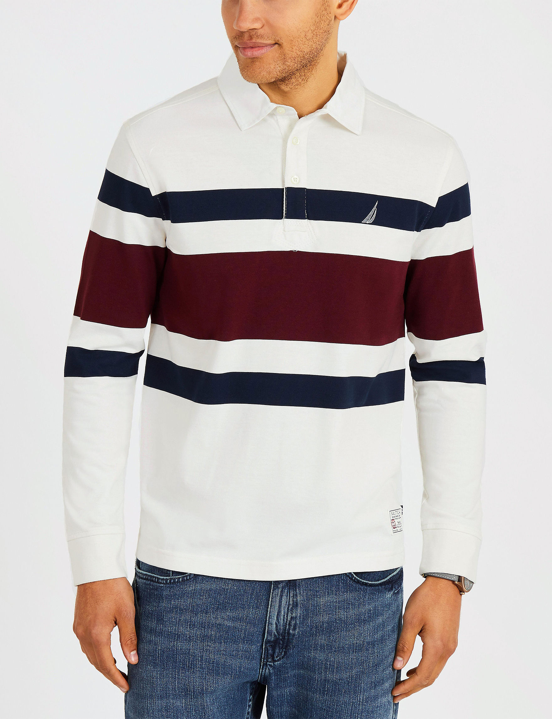 Nautica White Stripe Polos