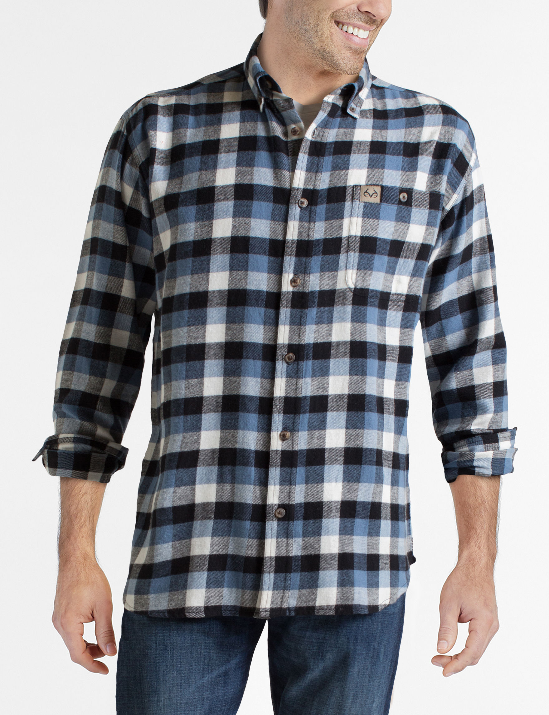 Realtree Blue Casual Button Down Shirts