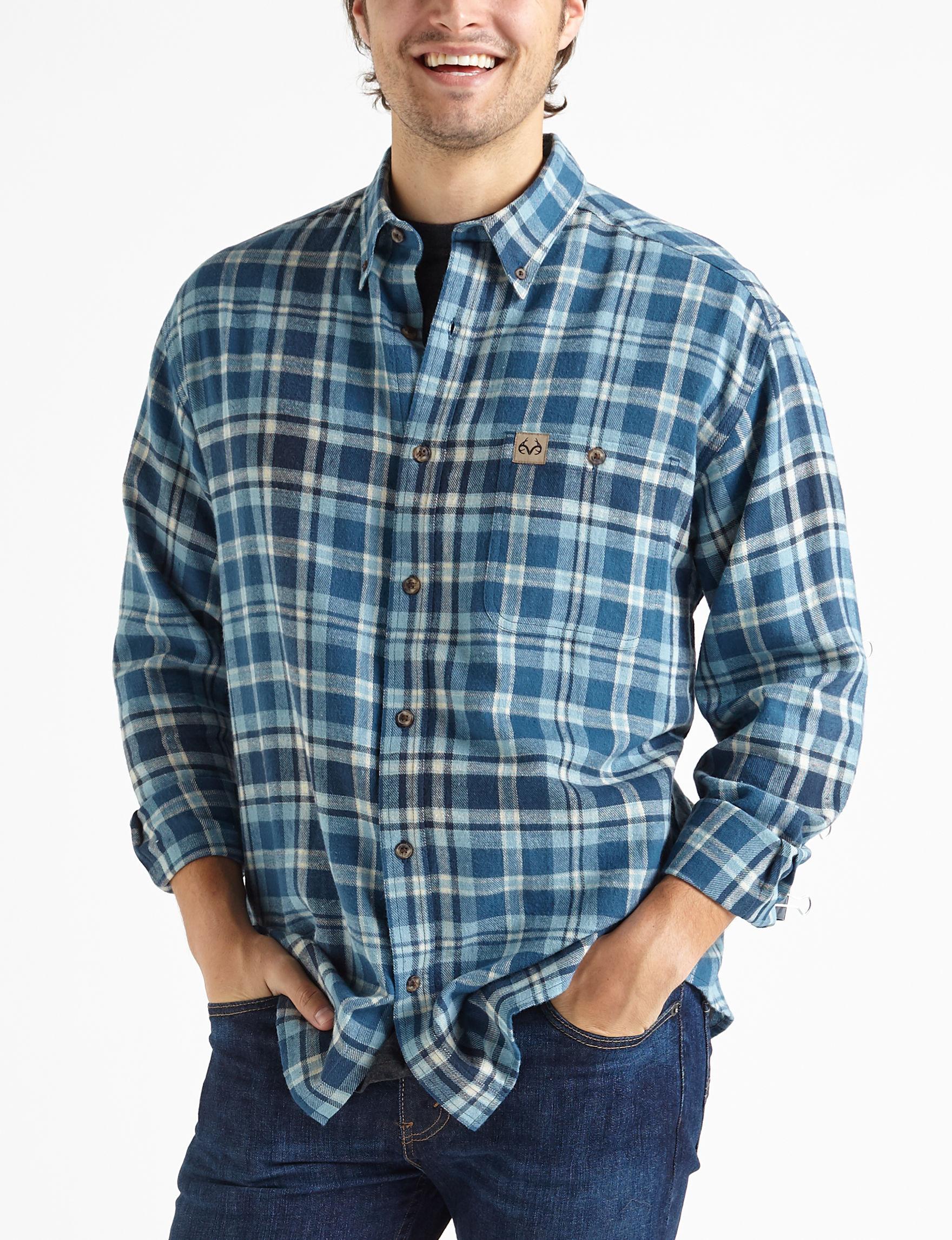 Realtree Blue Plaid Casual Button Down Shirts