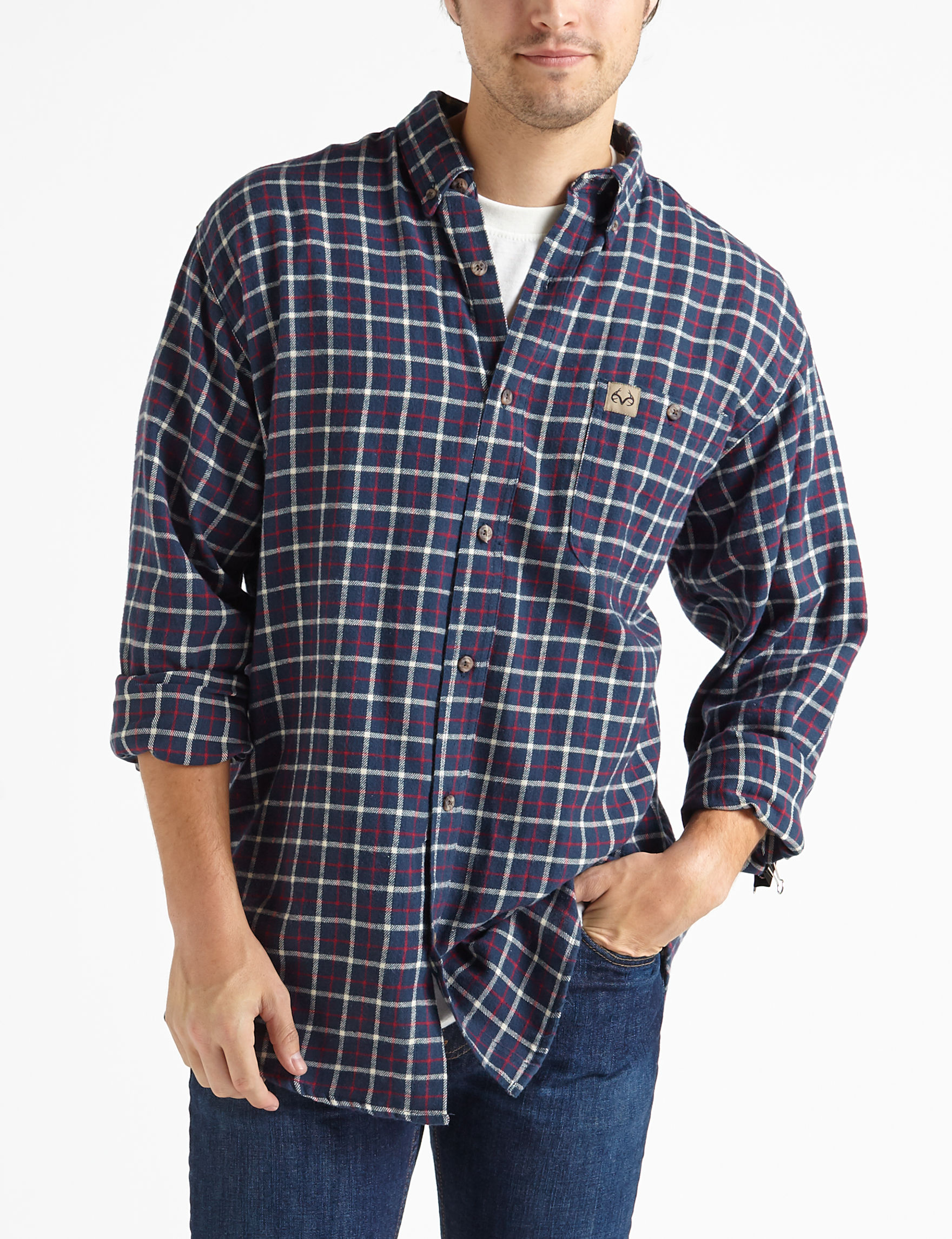 Realtree Midnight Casual Button Down Shirts
