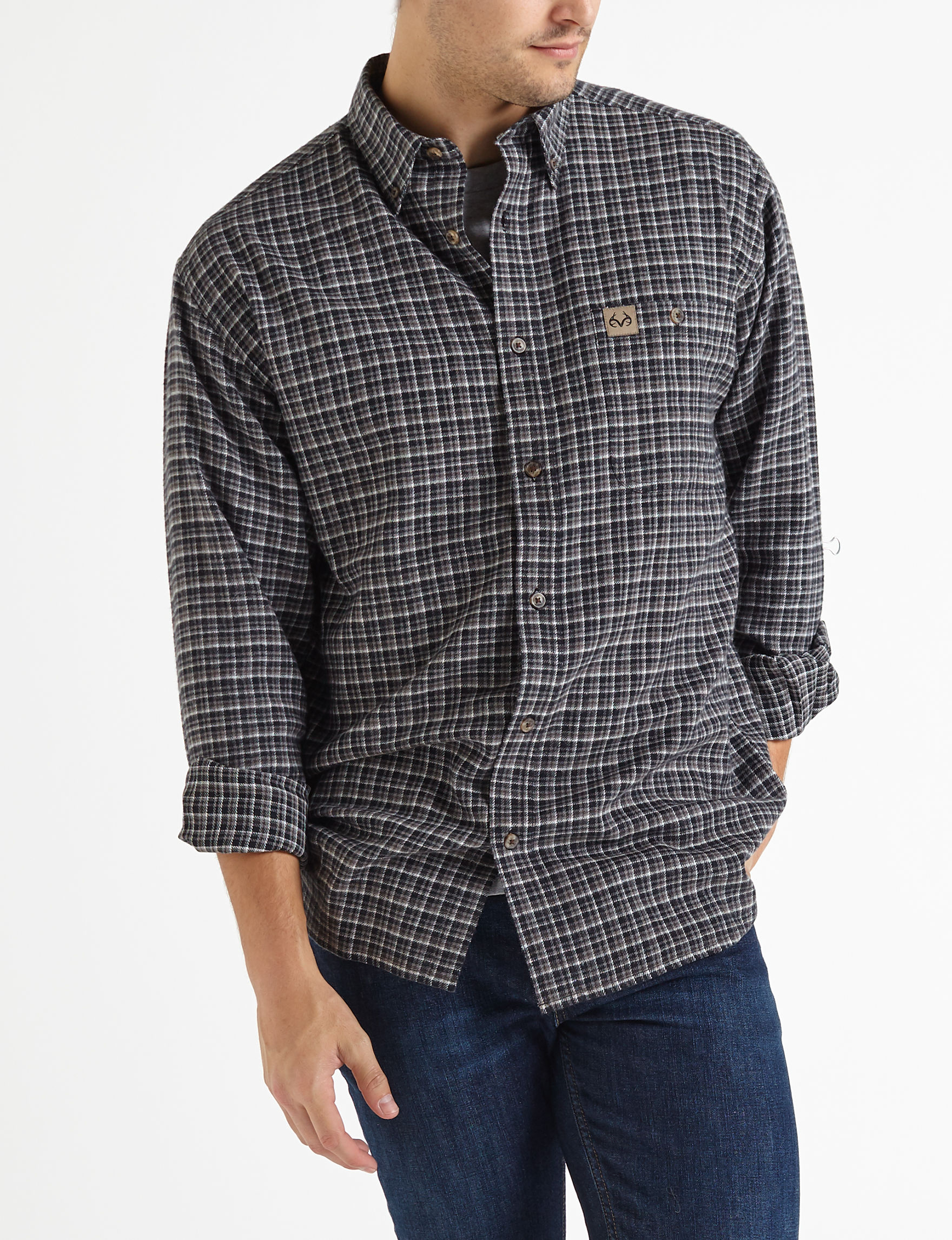 Realtree Black / Multi Casual Button Down Shirts