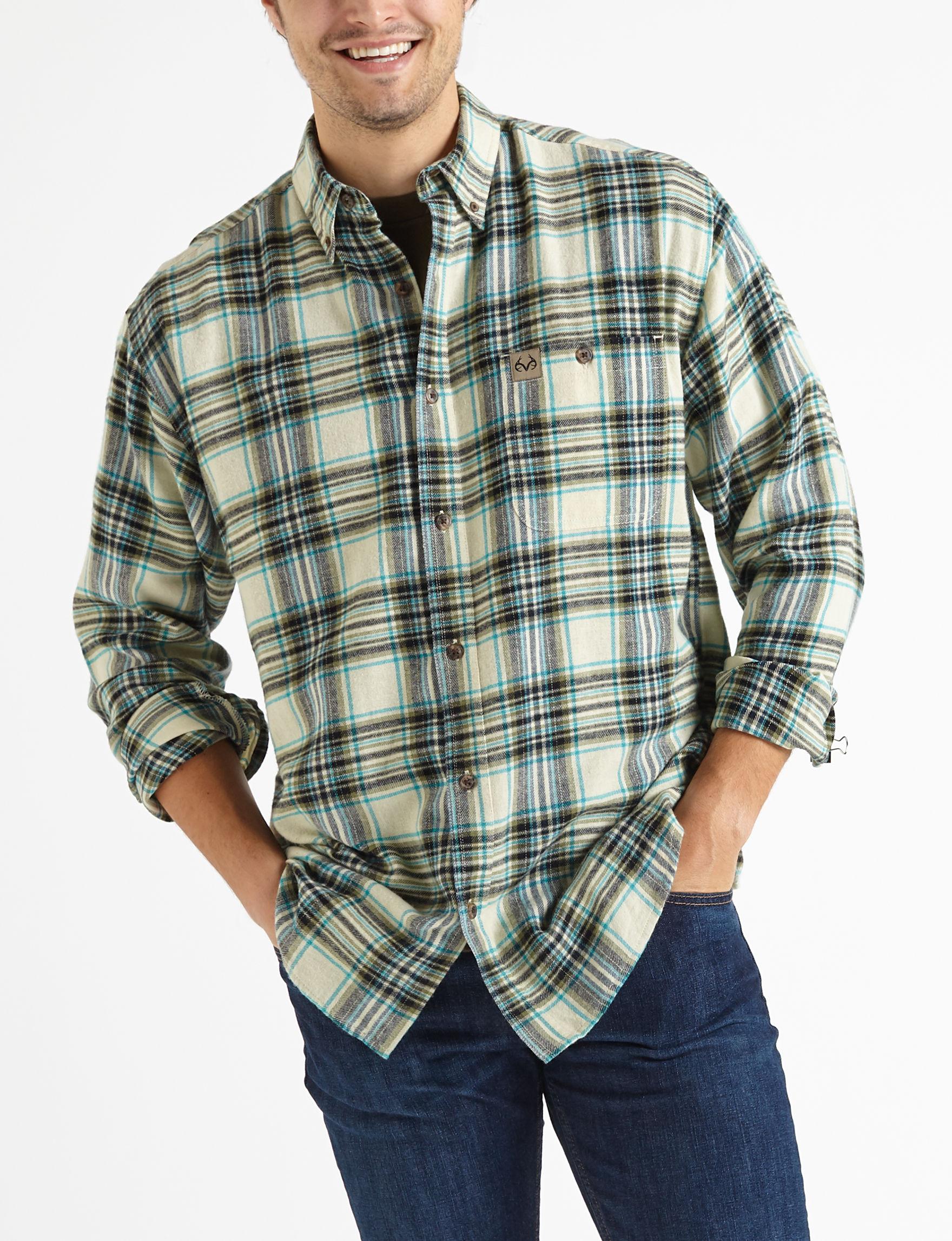 Realtree Dark Brown Casual Button Down Shirts