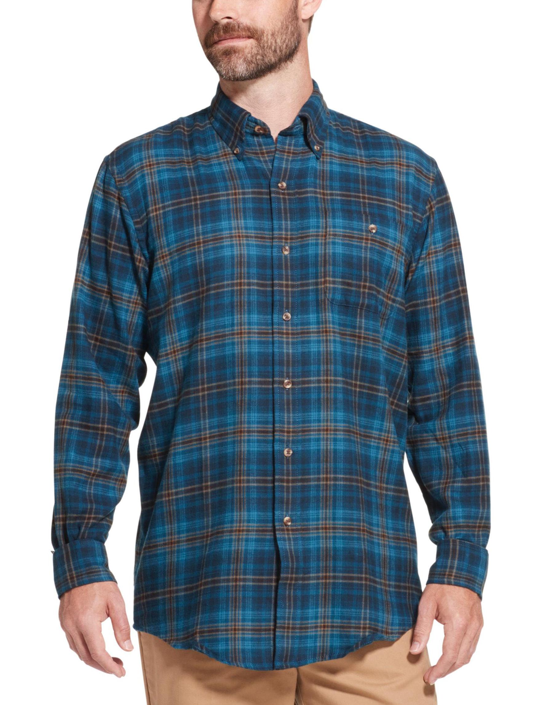 Arrow Blue Plaid Casual Button Down Shirts
