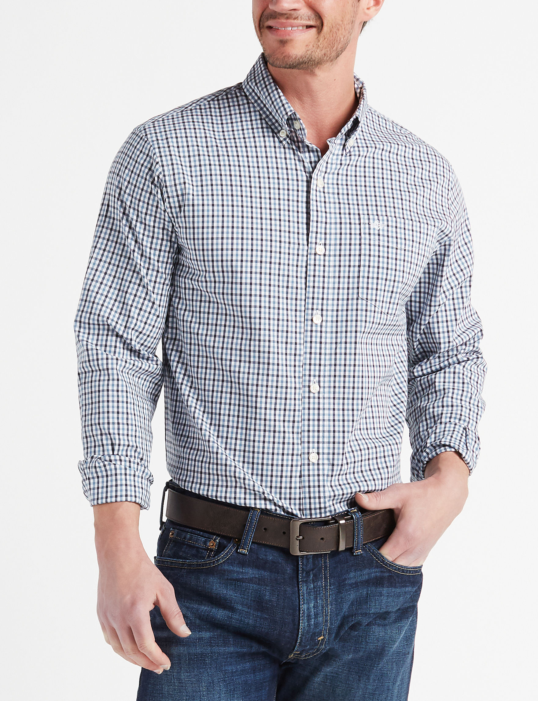 Dockers Navy Casual Button Down Shirts