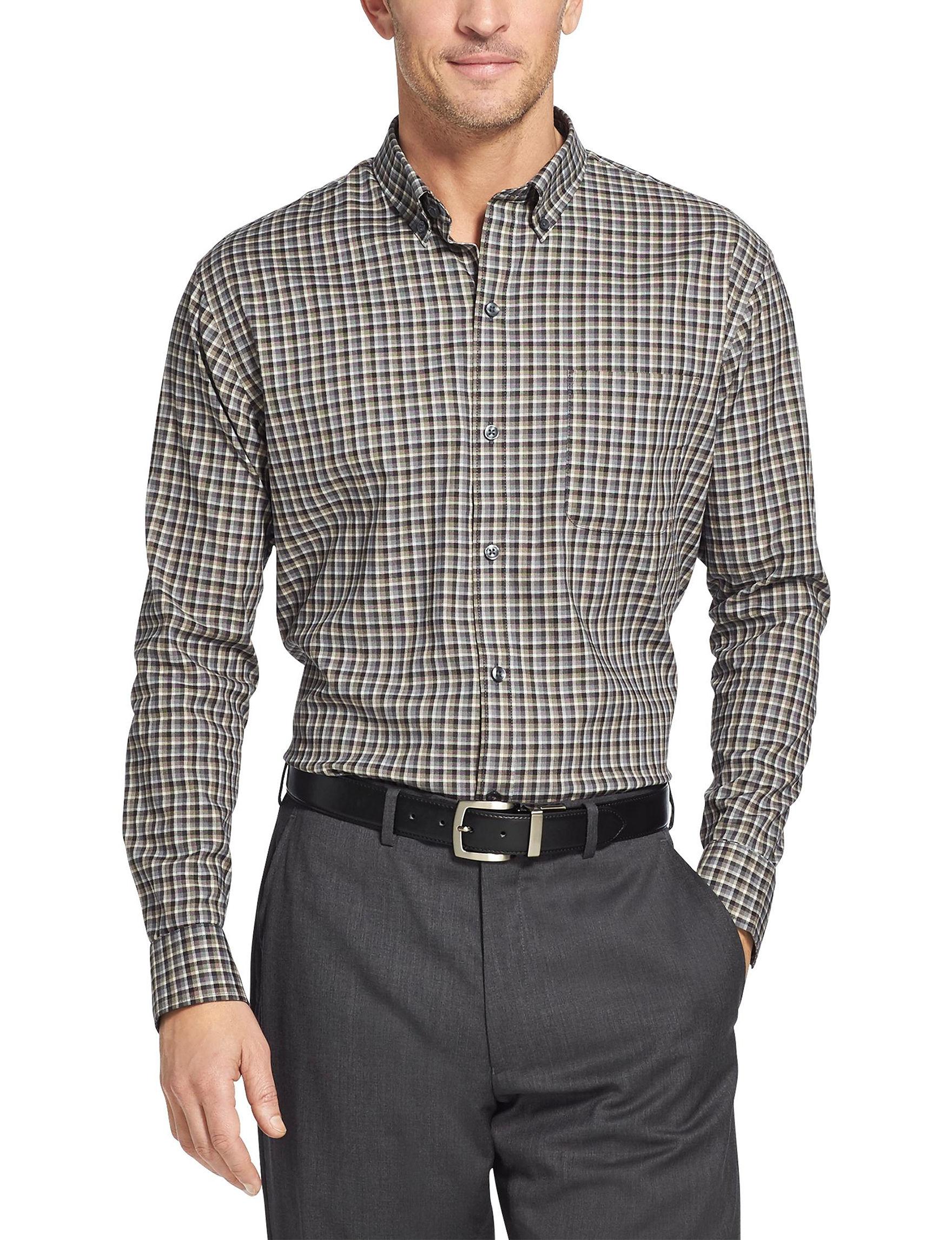 Van Heusen Grey Plaid Casual Button Down Shirts