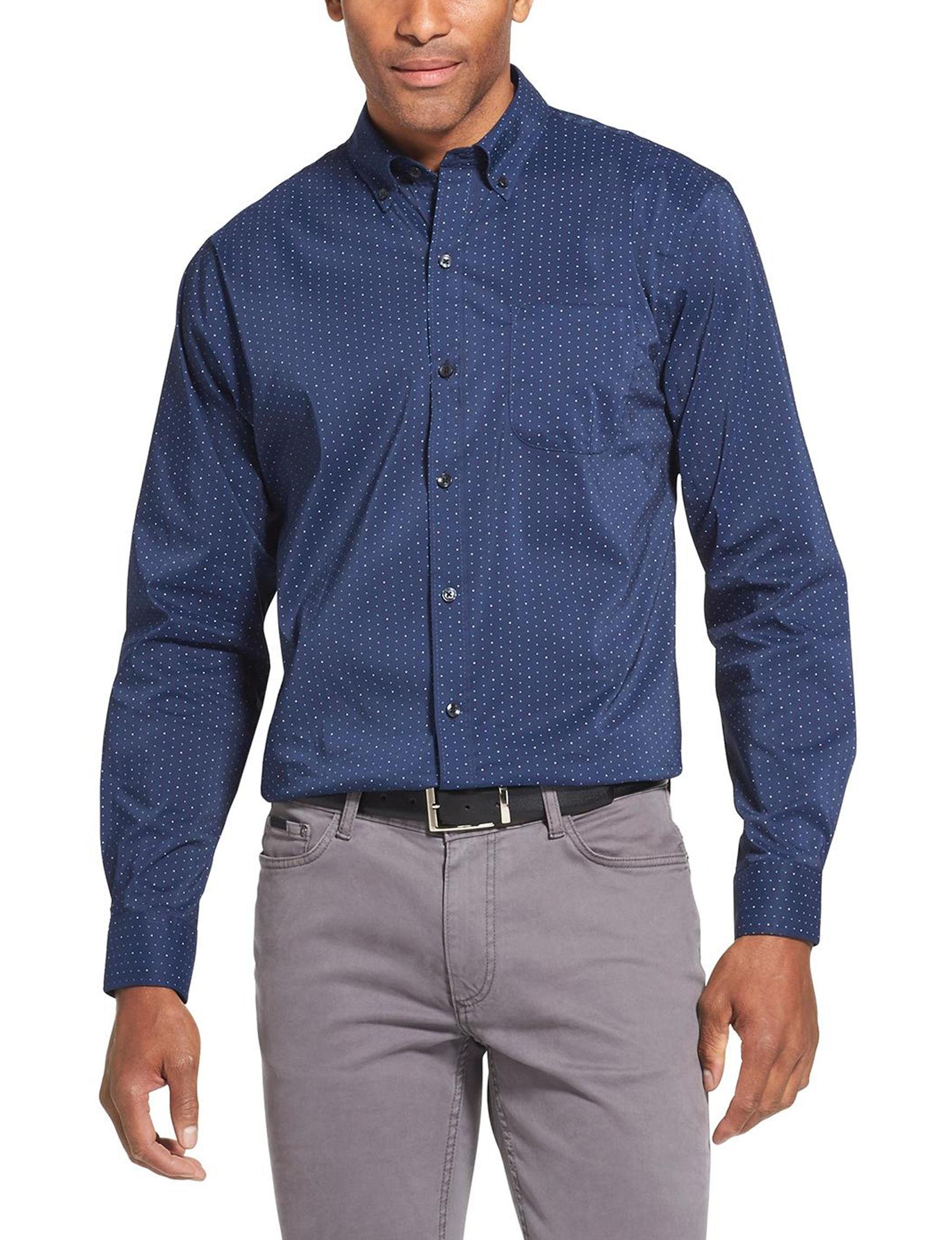 Van Heusen Navy Casual Button Down Shirts