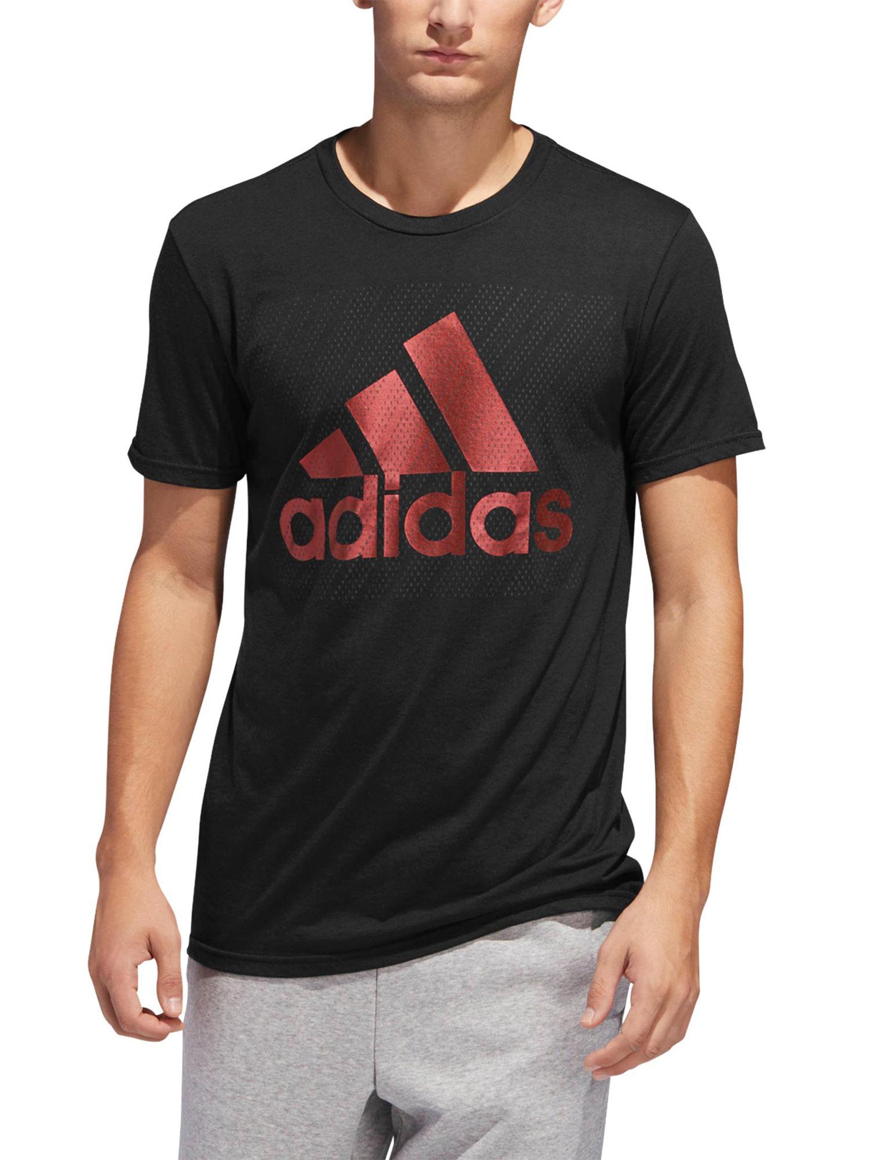 Adidas Black / Red Tees & Tanks