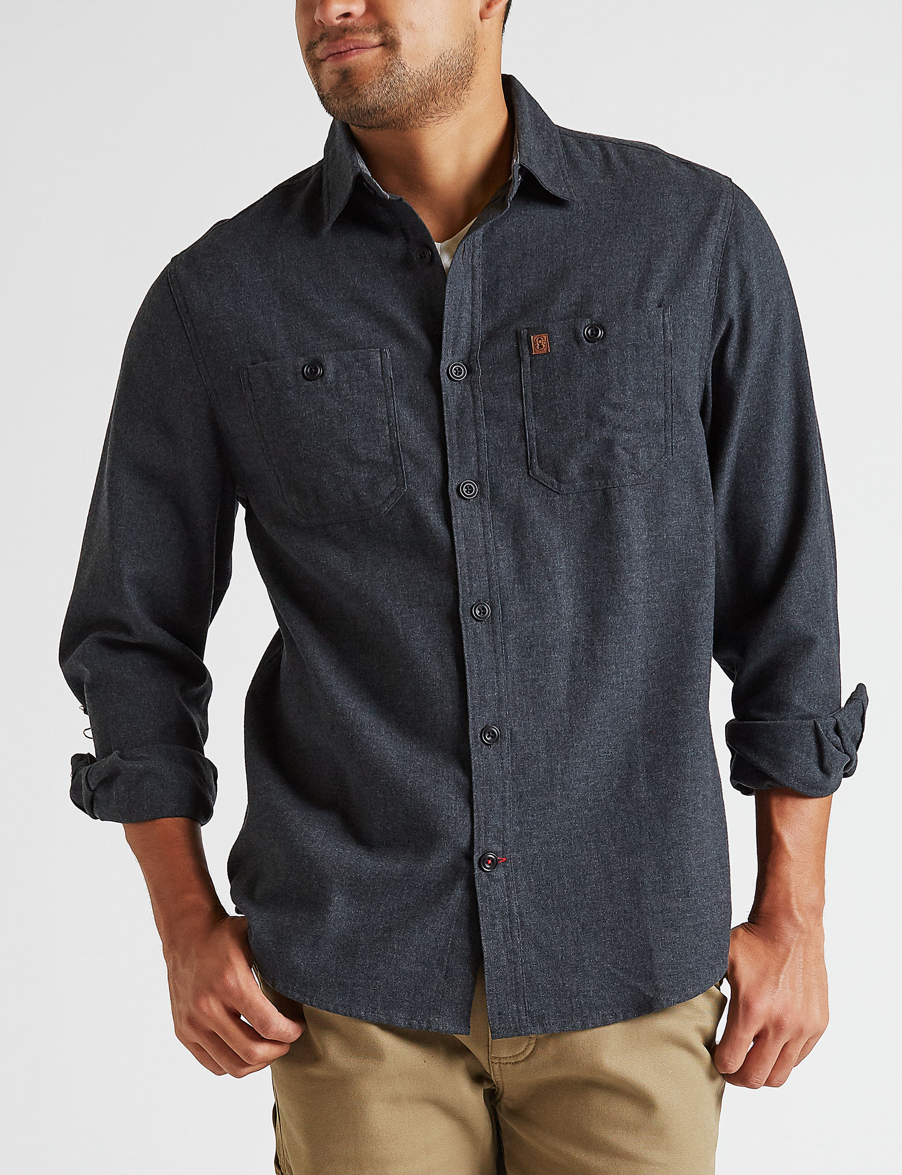 Coleman Medium Grey Casual Button Down Shirts