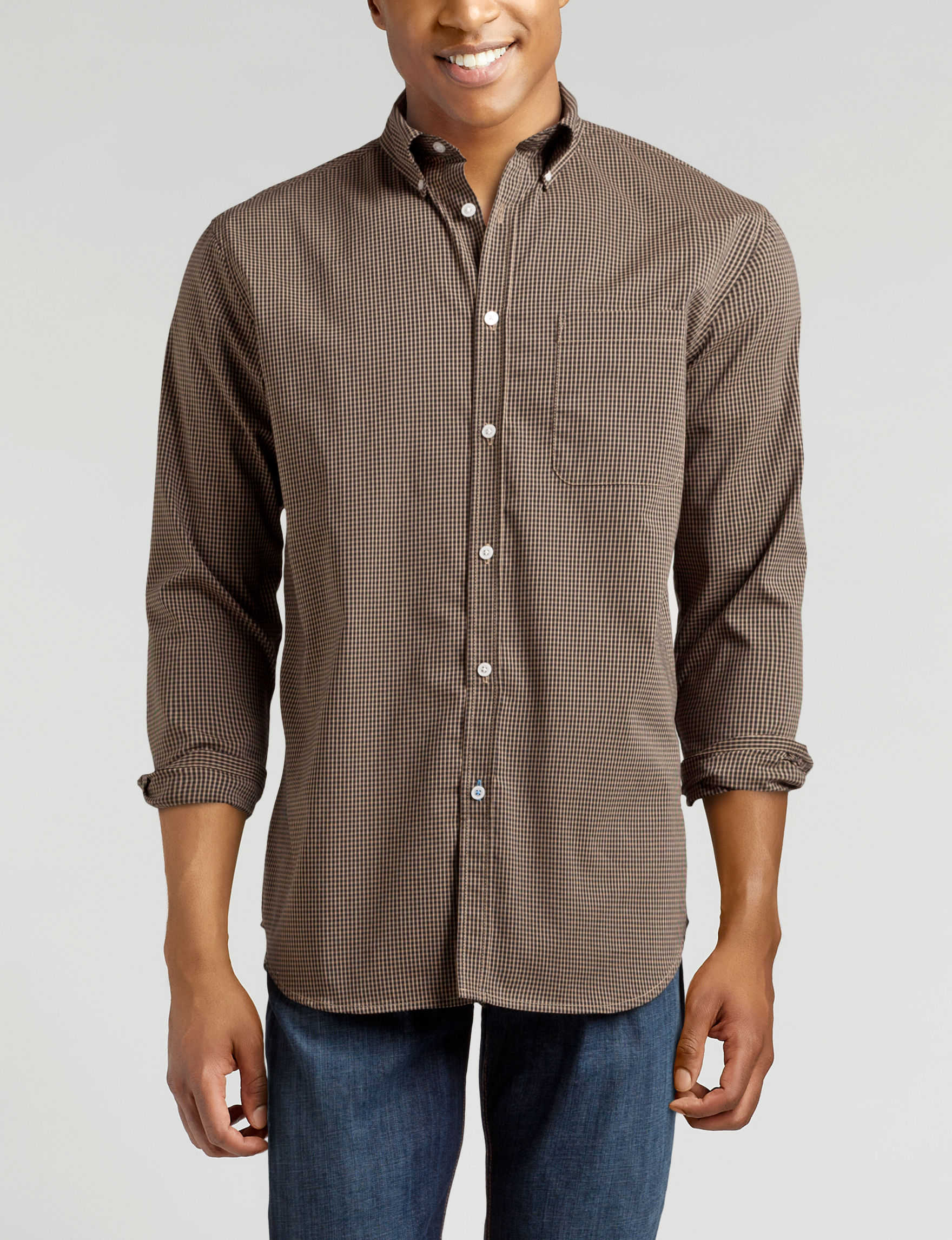 Sun River Khaki Casual Button Down Shirts