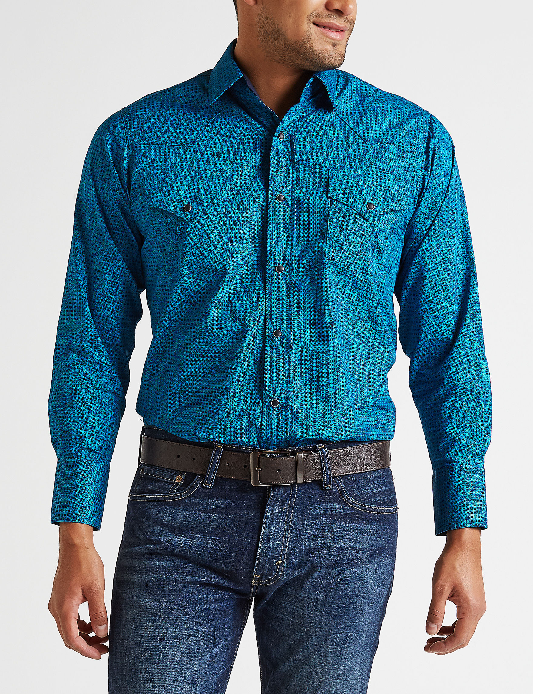 Ely Cattleman Turquoise Casual Button Down Shirts