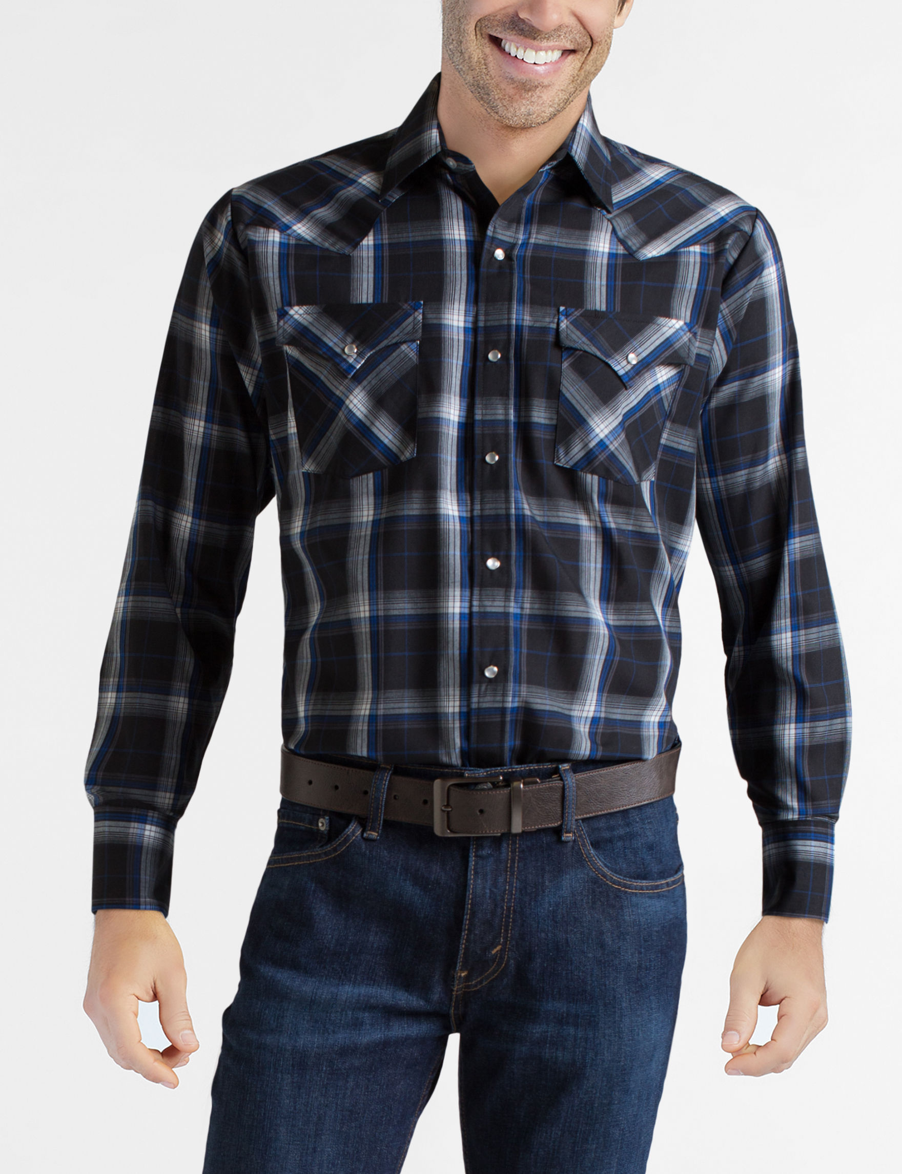 Ely Cattleman Black Casual Button Down Shirts
