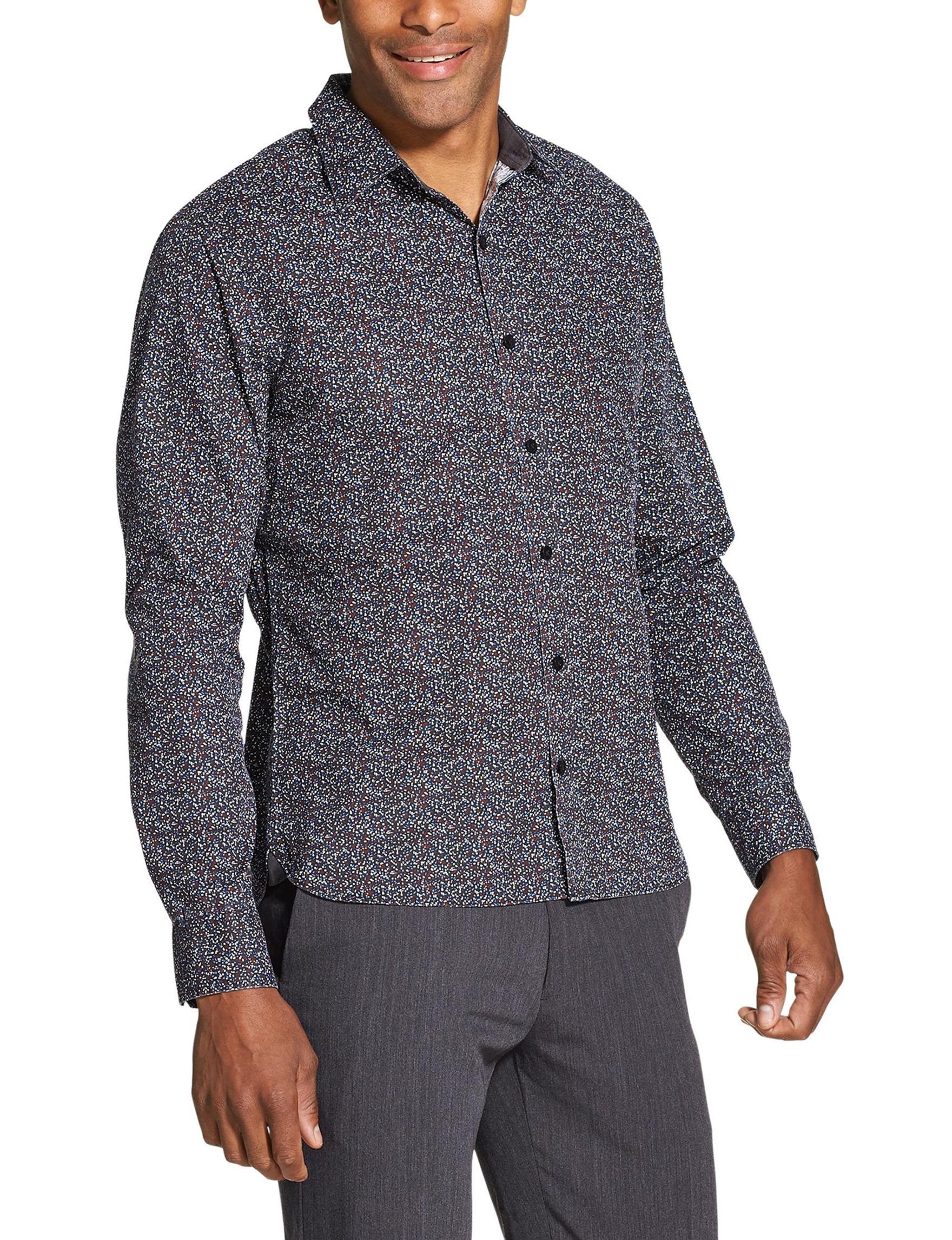 Van Heusen Black / Dots Casual Button Down Shirts