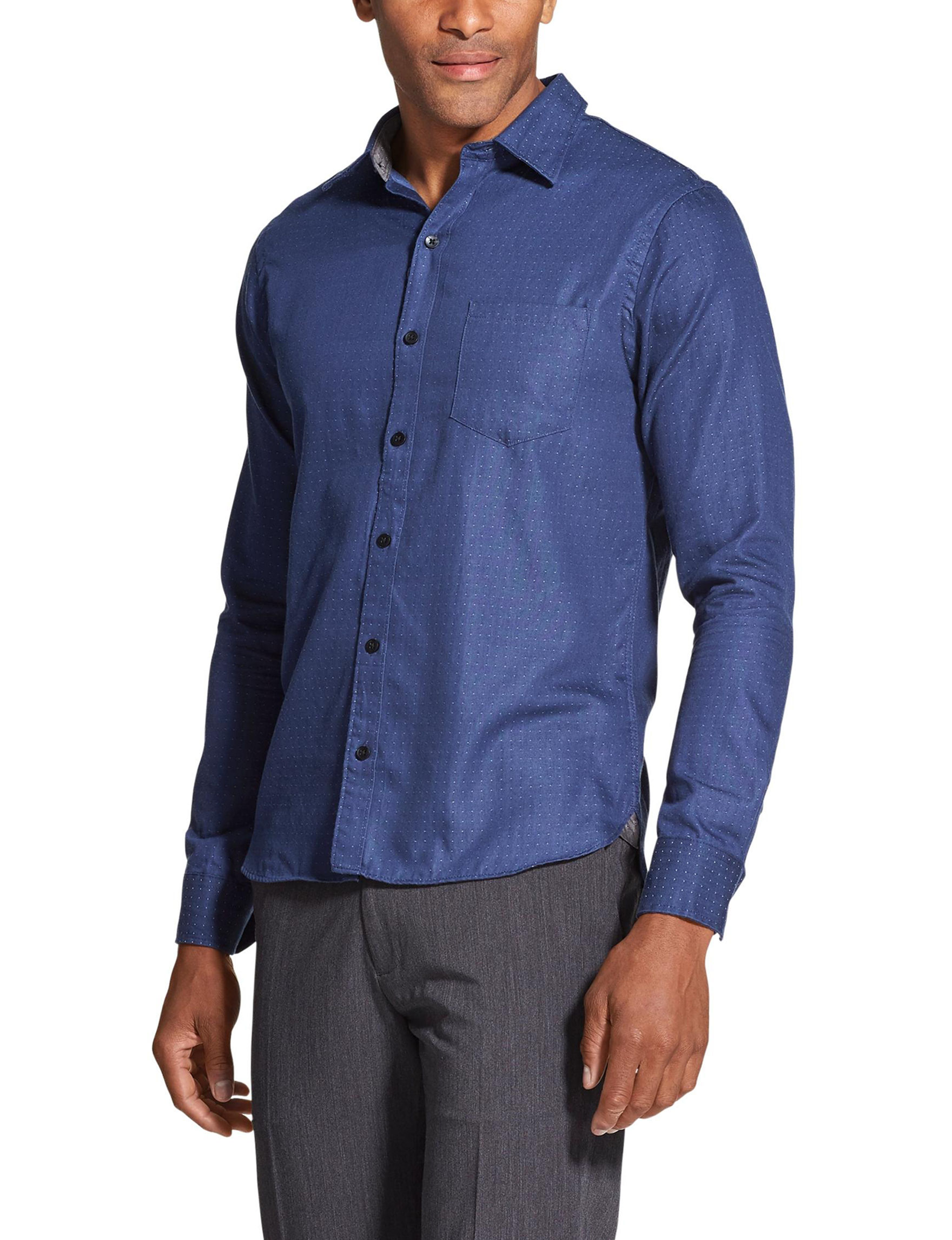 Van Heusen Blue / Dots Casual Button Down Shirts