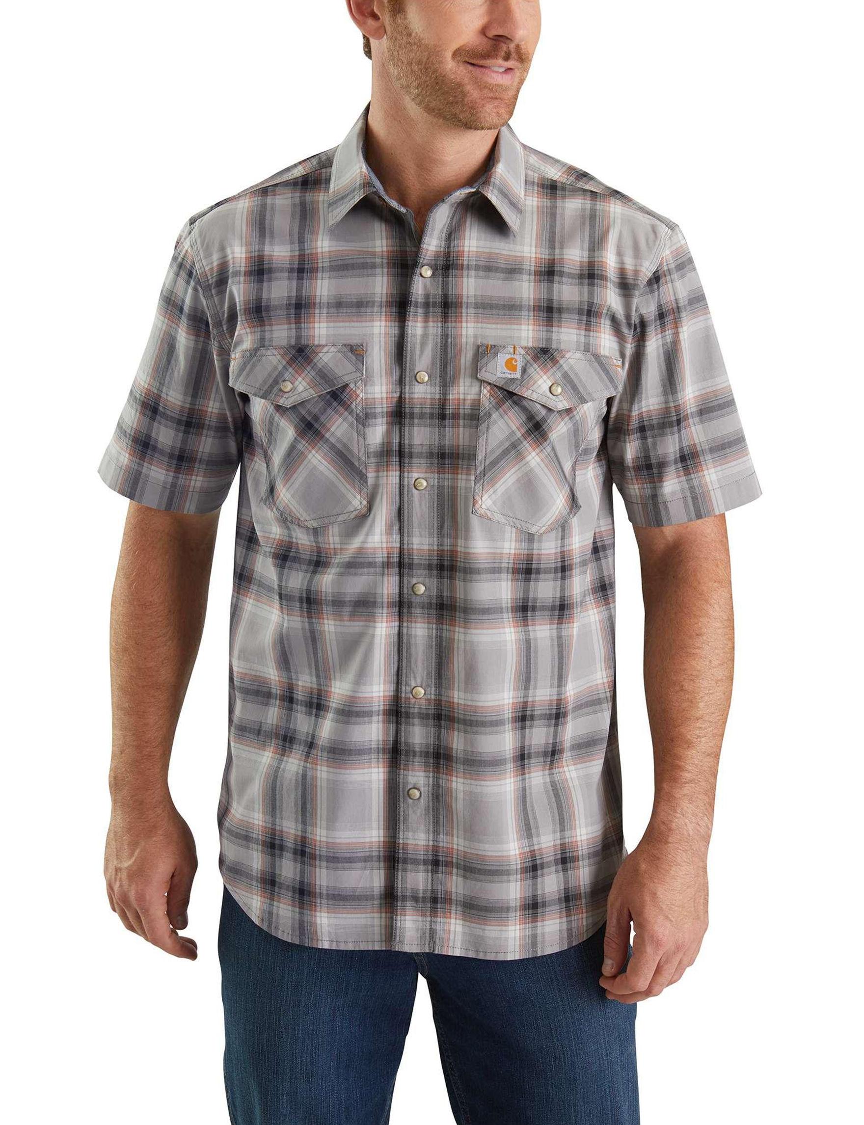 Carhartt Grey Plaid Casual Button Down Shirts