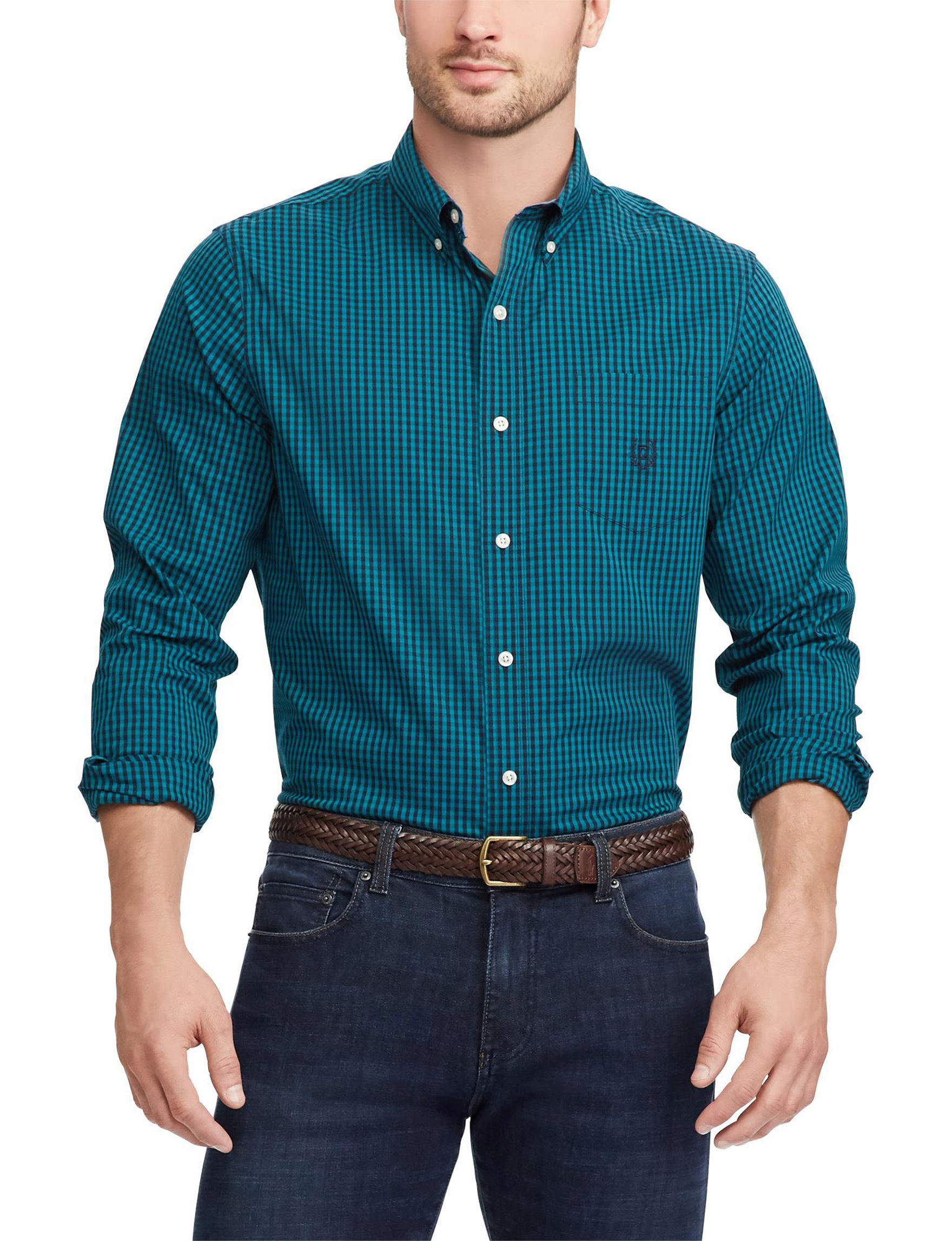 Chaps Green / Multi Casual Button Down Shirts