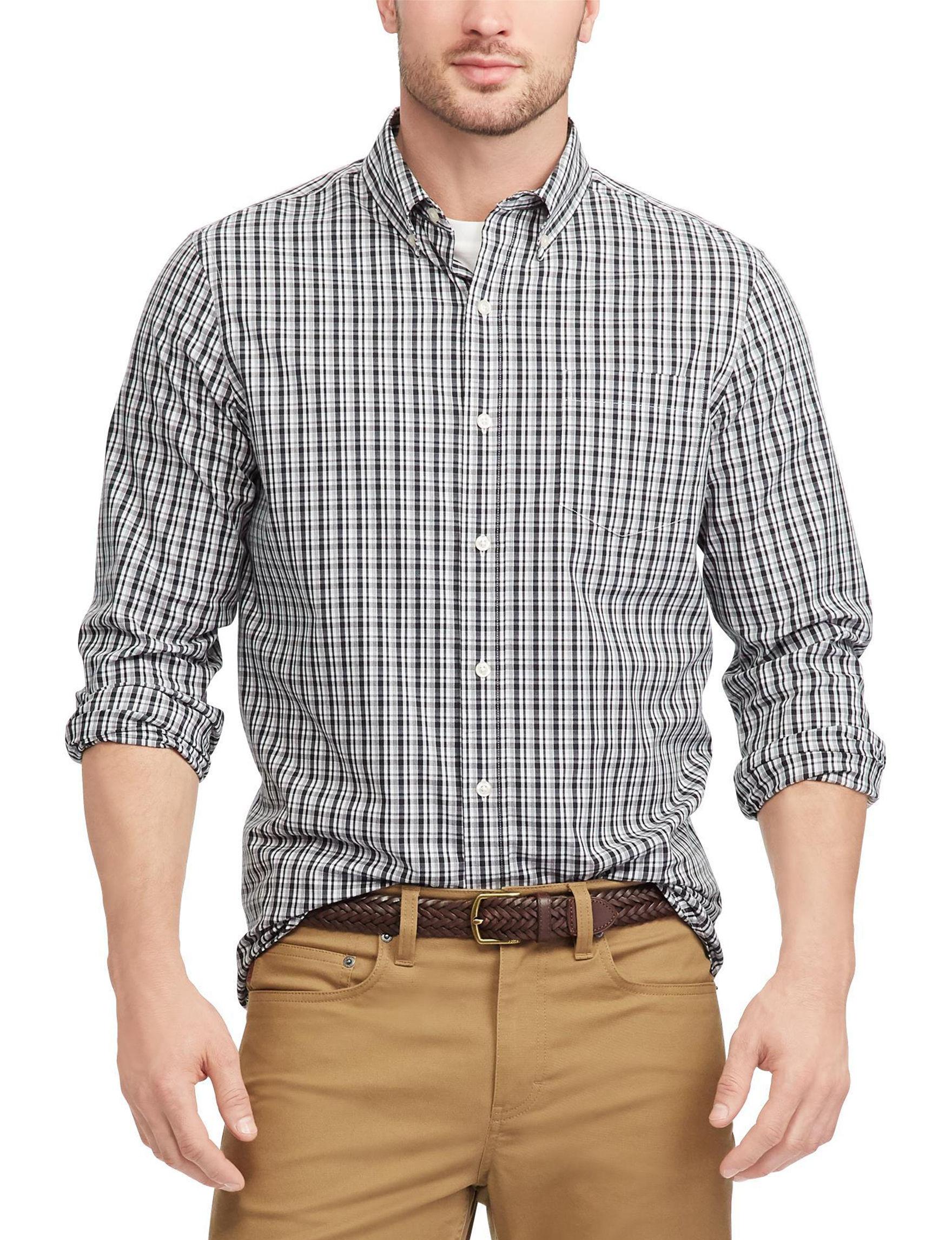 Chaps White / Black Casual Button Down Shirts