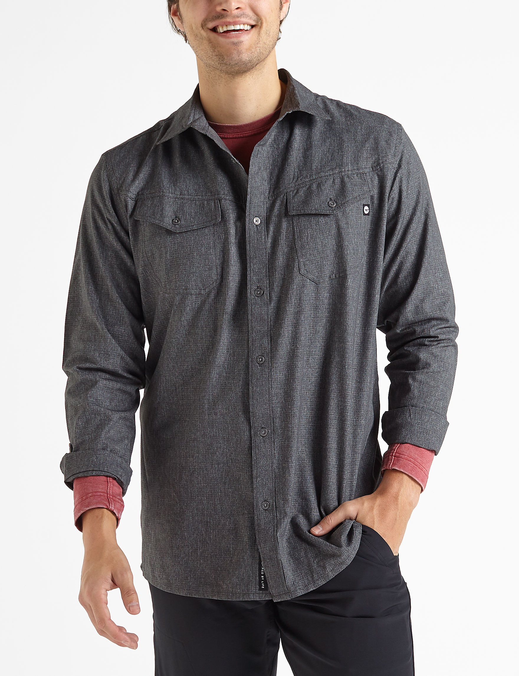 Hi-Tec Charcoal Casual Button Down Shirts