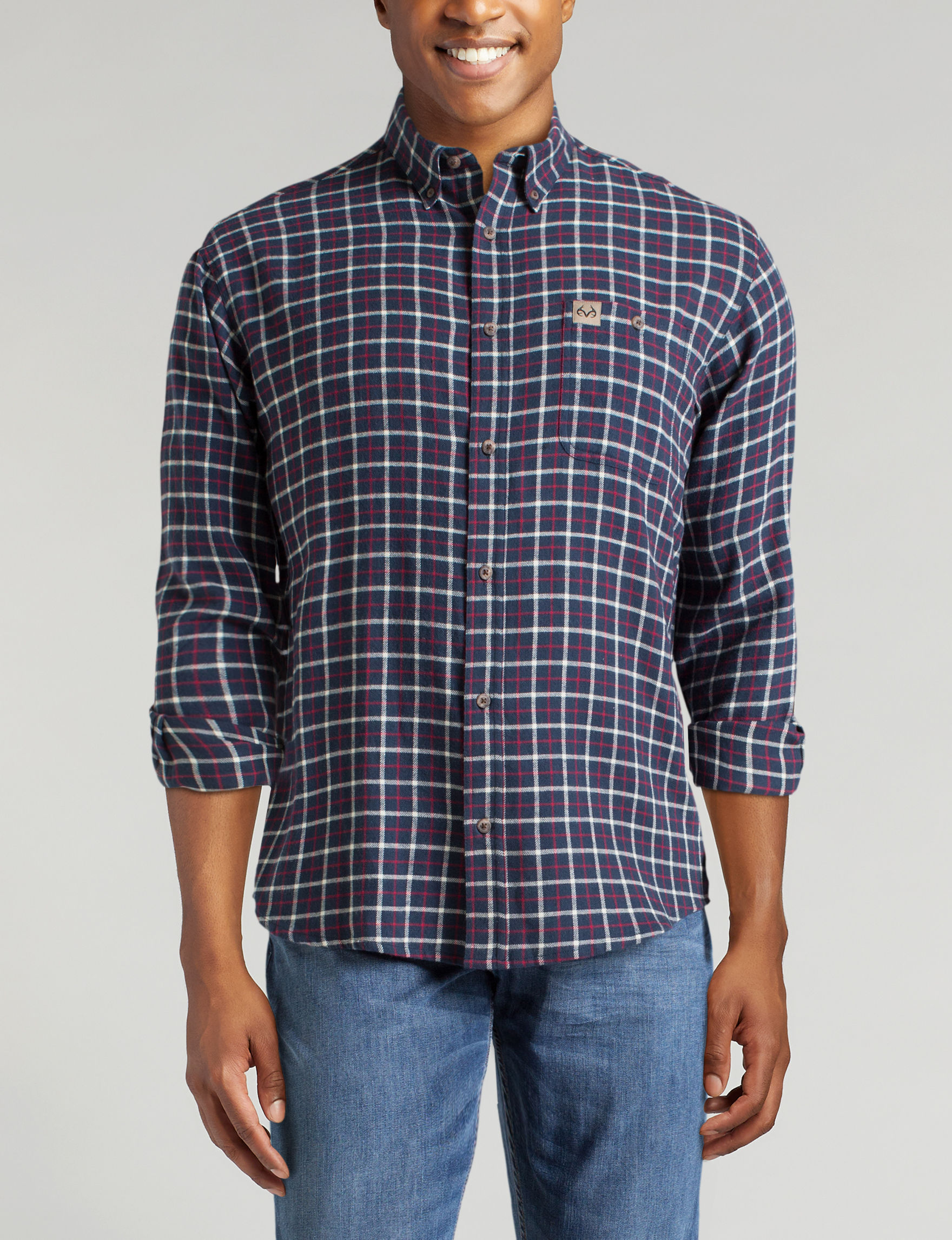 Realtree Navy Plaid Casual Button Down Shirts