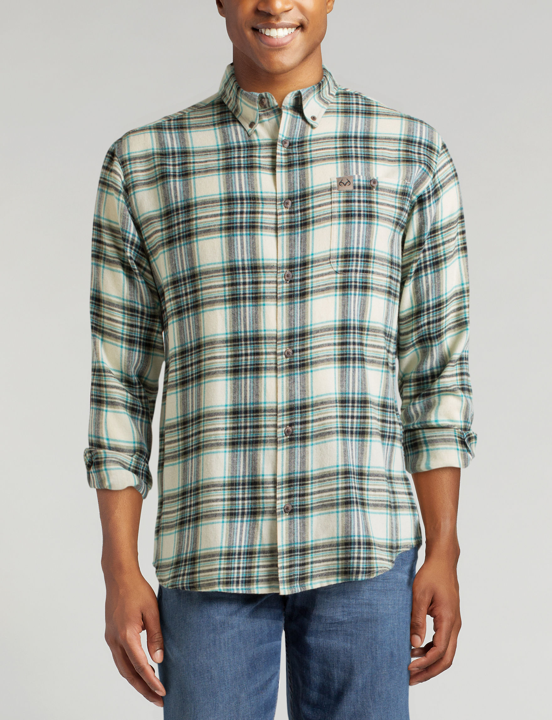 Realtree Brown Plaid Casual Button Down Shirts