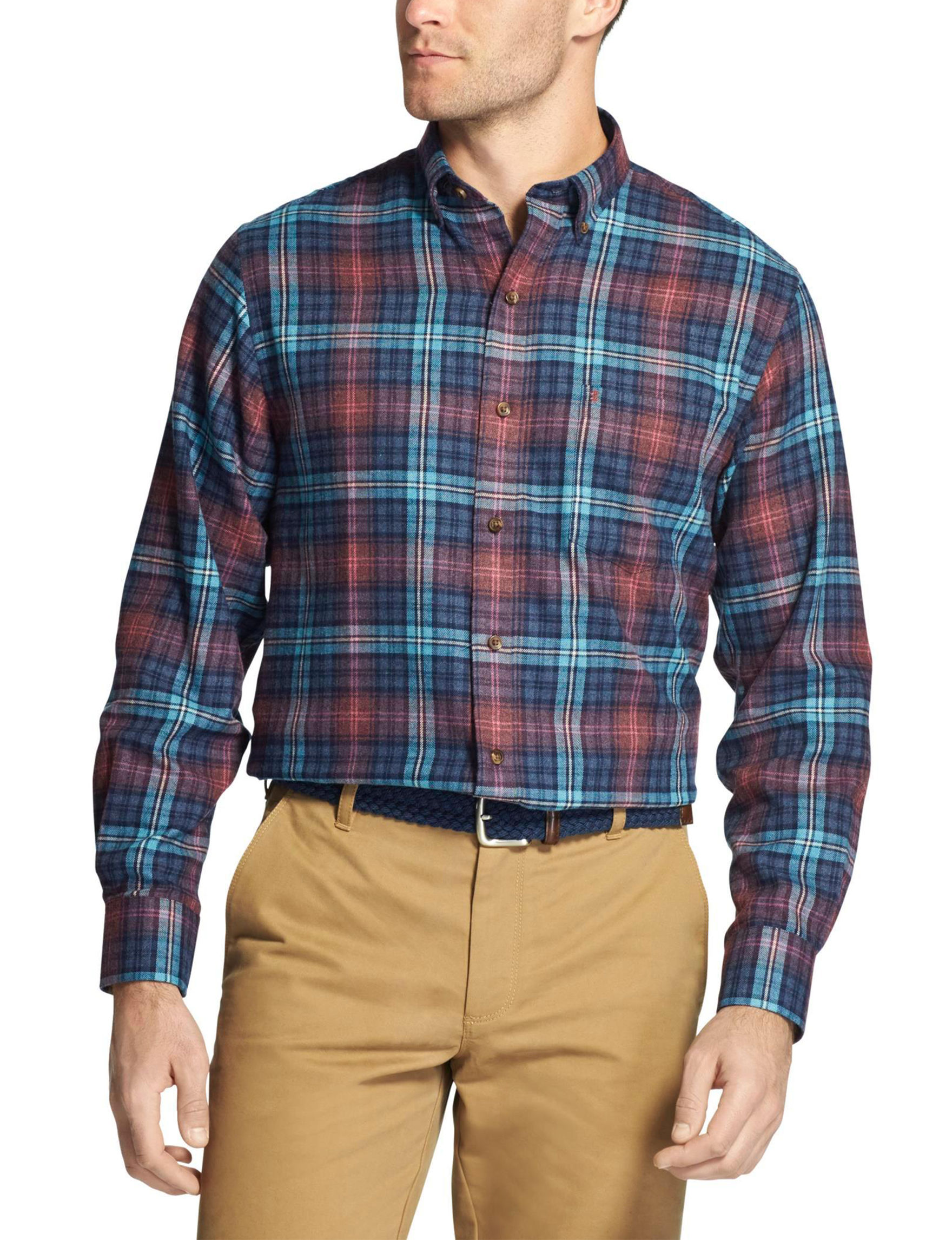 Izod Navy Plaid Casual Button Down Shirts
