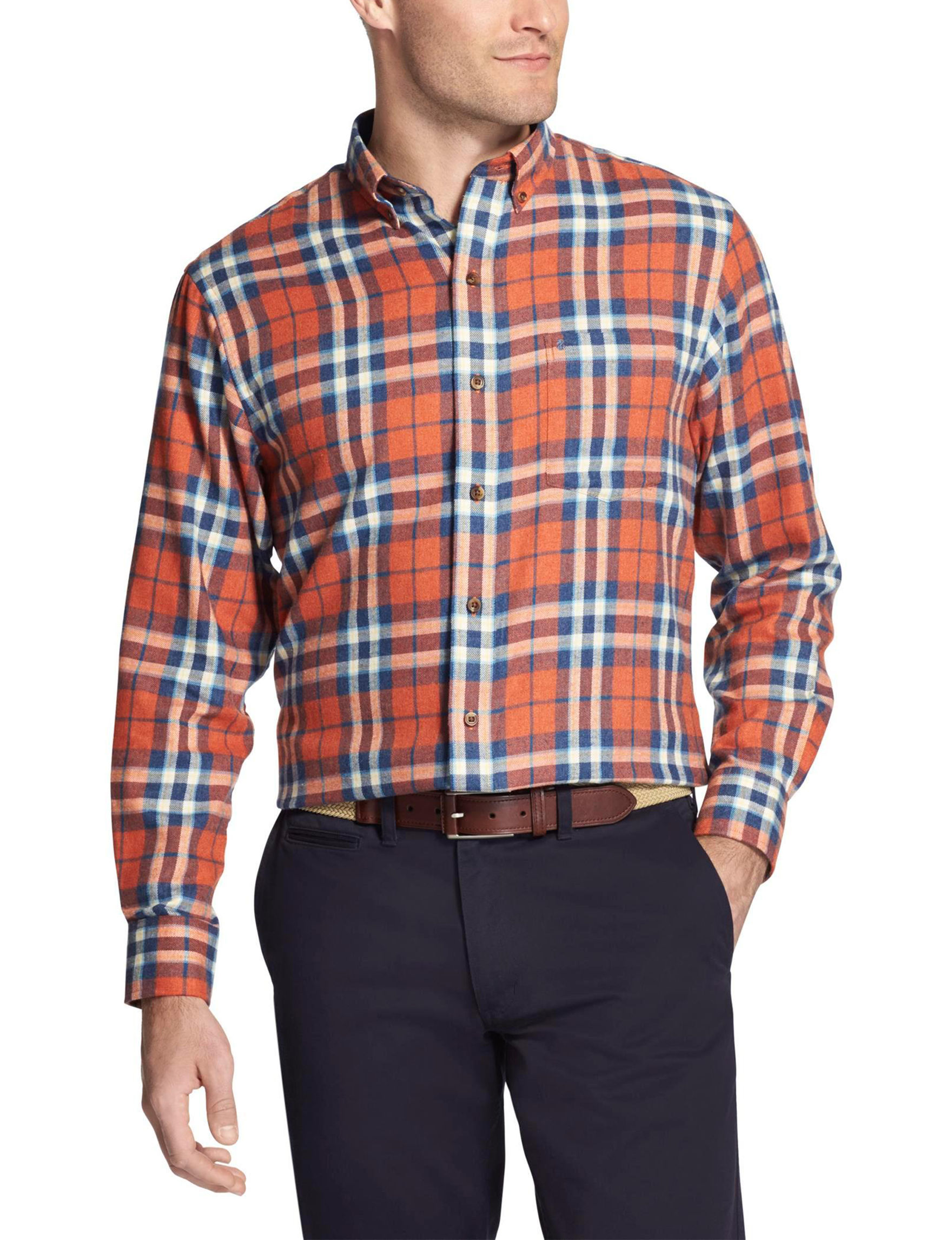 Izod Orange Plaid Casual Button Down Shirts