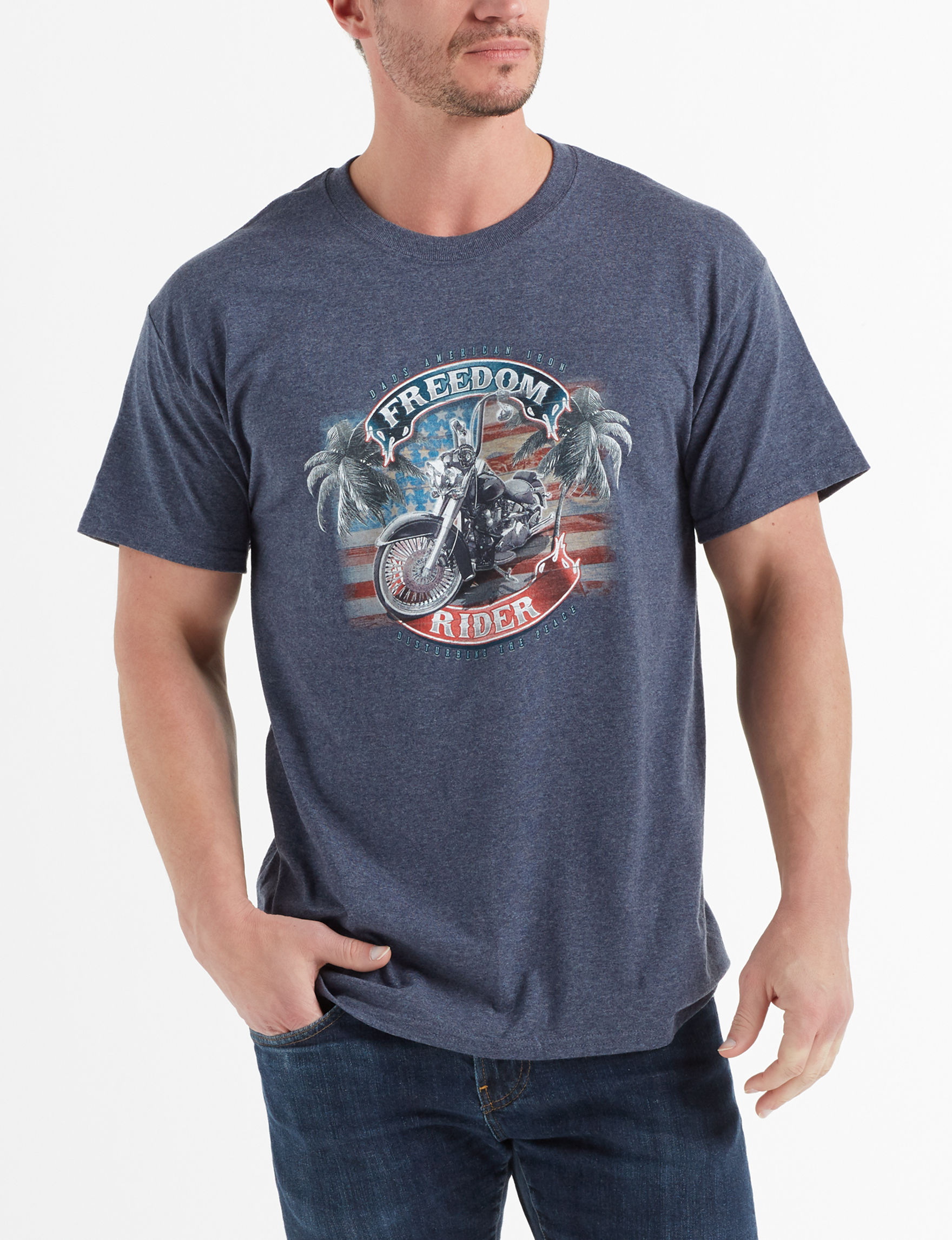 608262974 Newport Blue Men's Freedom Rider T-shirt | Stage Stores
