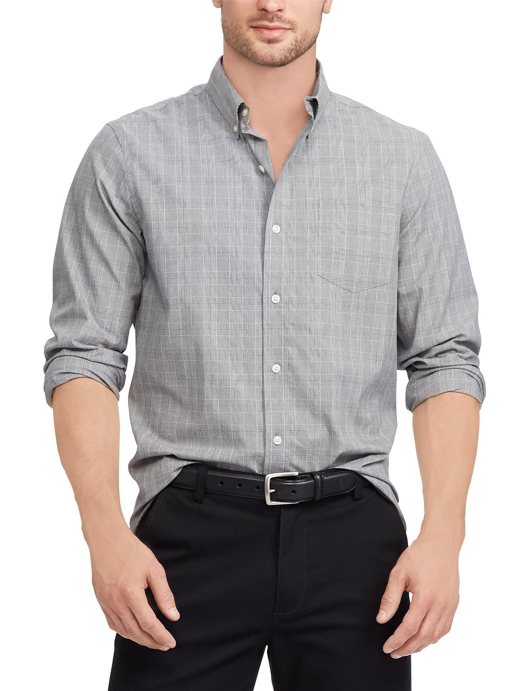 Chaps Grey Casual Button Down Shirts