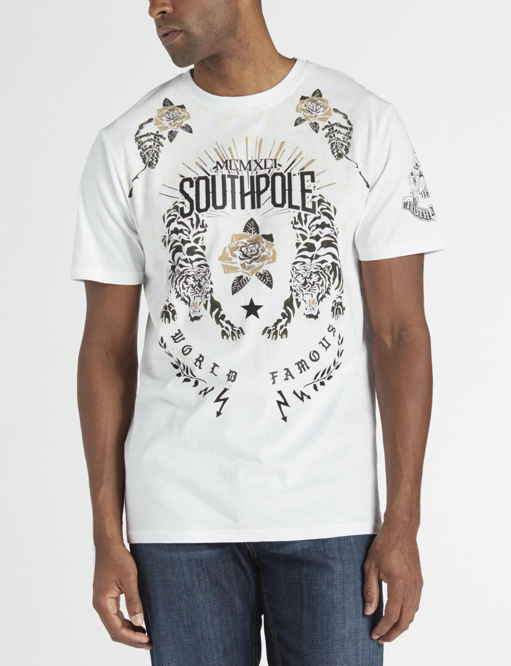 Southpole White Tees & Tanks