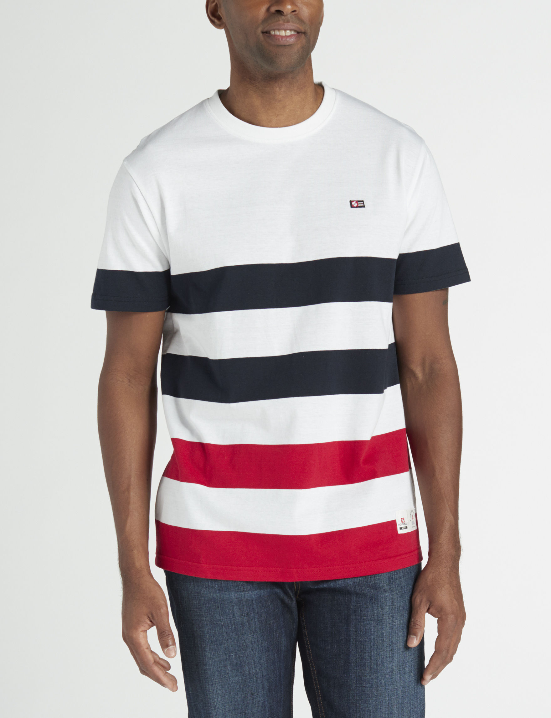 Southpole White Stripe Tees & Tanks
