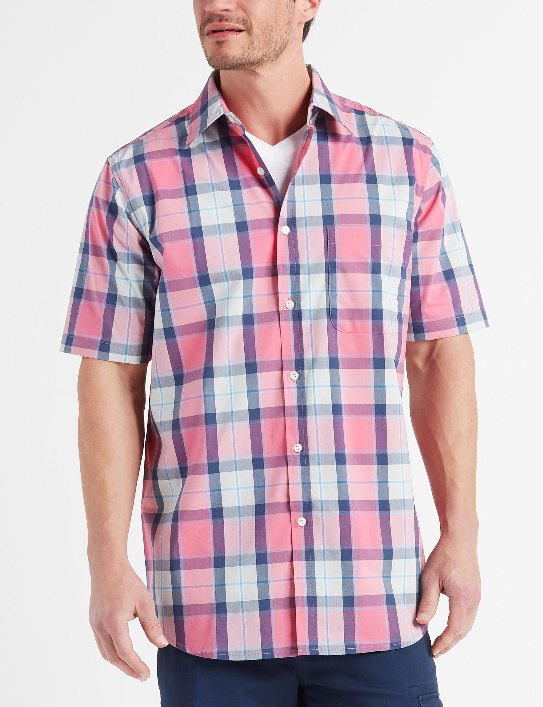 Sun River Pink Plaid Casual Button Down Shirts