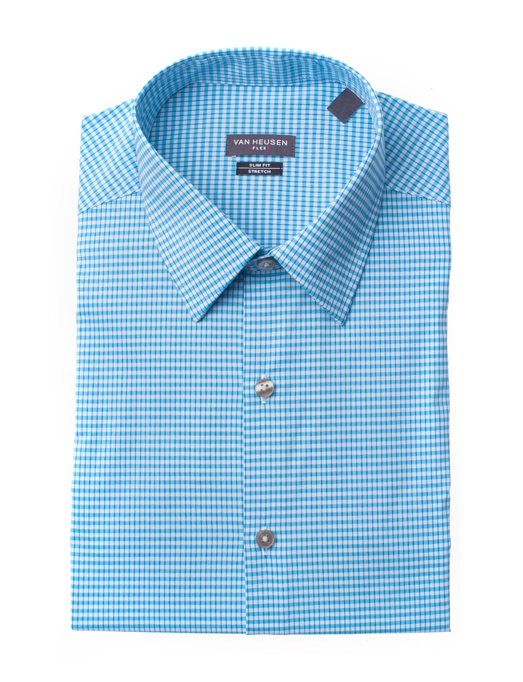 Van Heusen Aqua Plaid Dress Shirts
