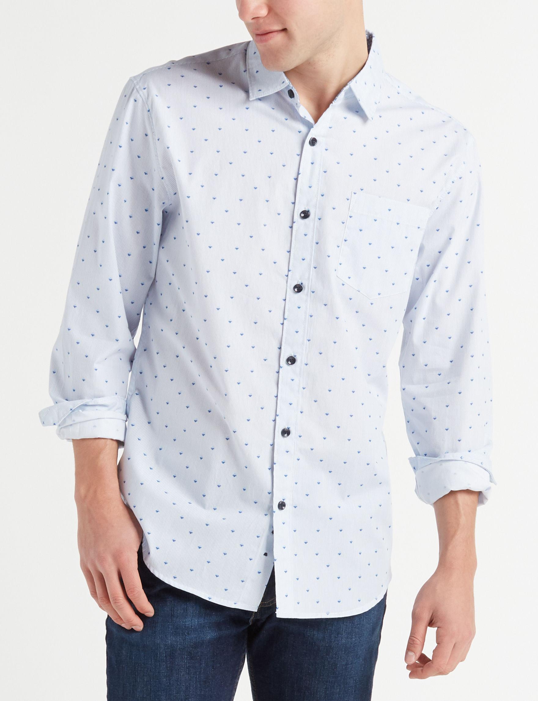 Signature Studio White / Navy Casual Button Down Shirts
