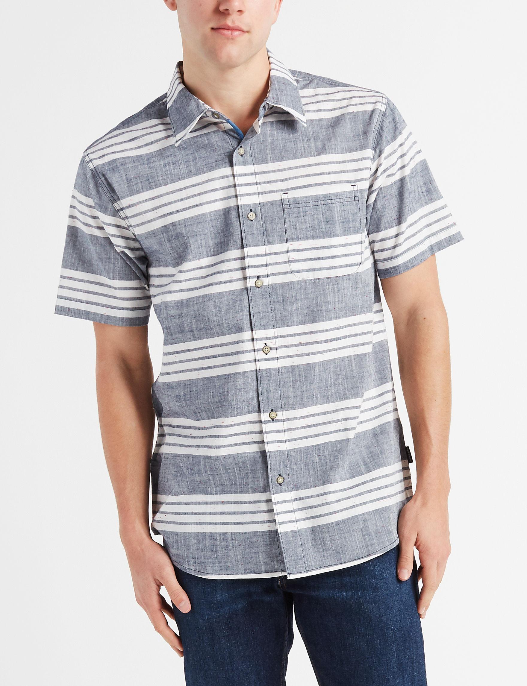 Ocean Current Indigo Casual Button Down Shirts