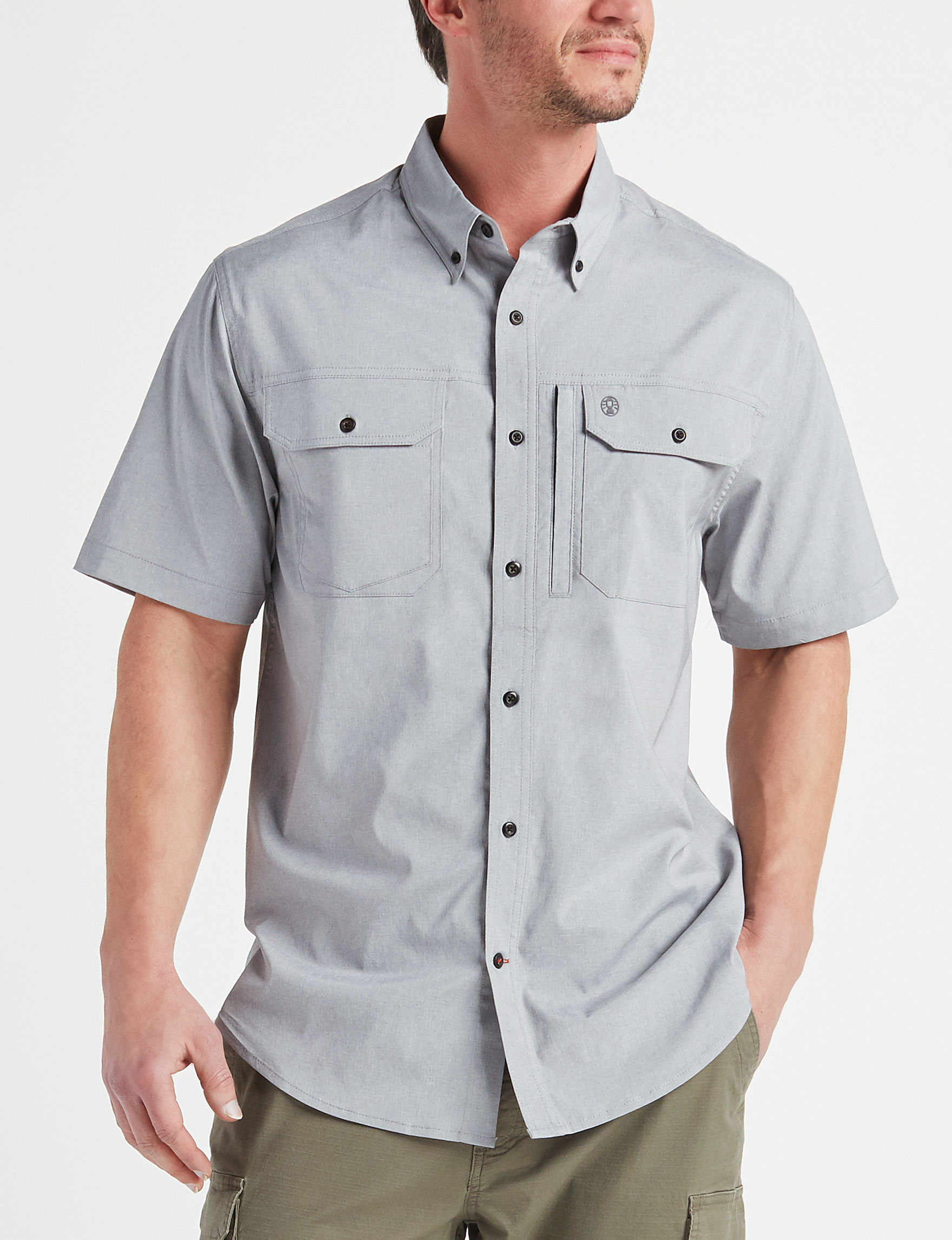 Coleman Grey Casual Button Down Shirts