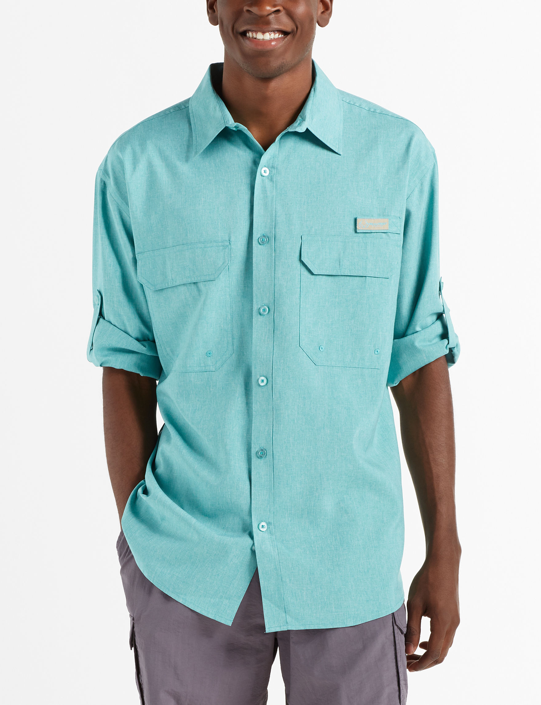 Realtree Blue Heather Casual Button Down Shirts