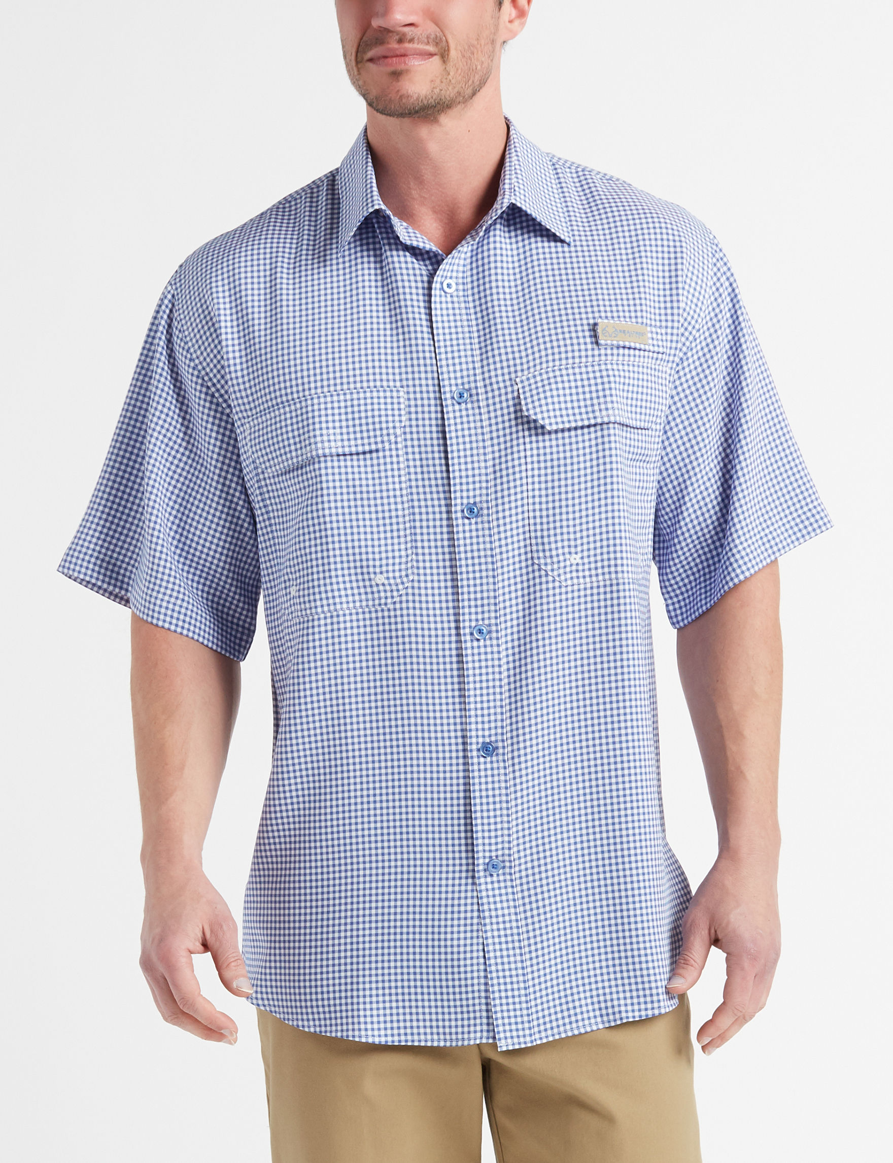 Realtree Blue / White Casual Button Down Shirts